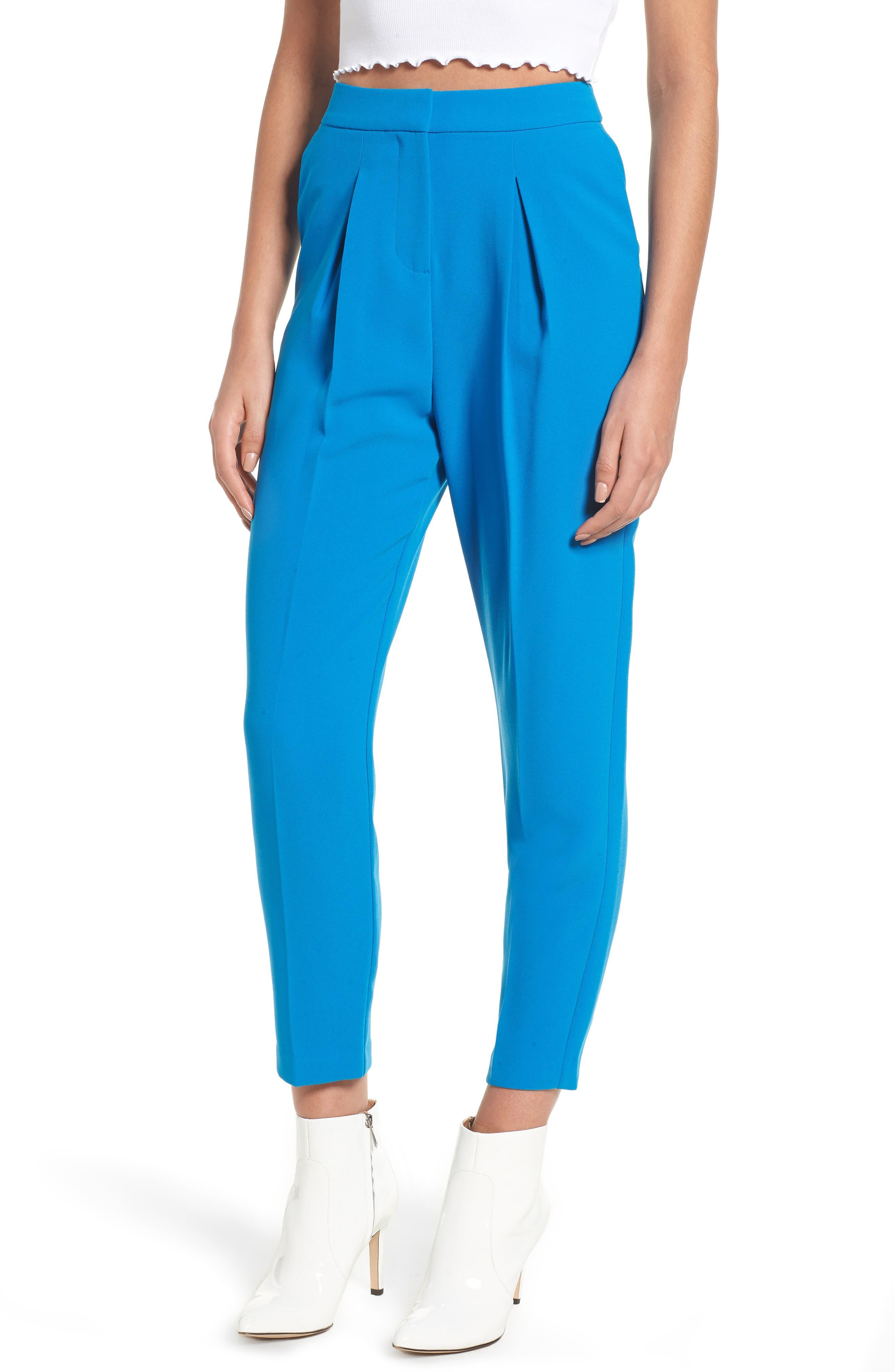 Clara Peg Belted Trousers,                         Main,                         color, Cobalt