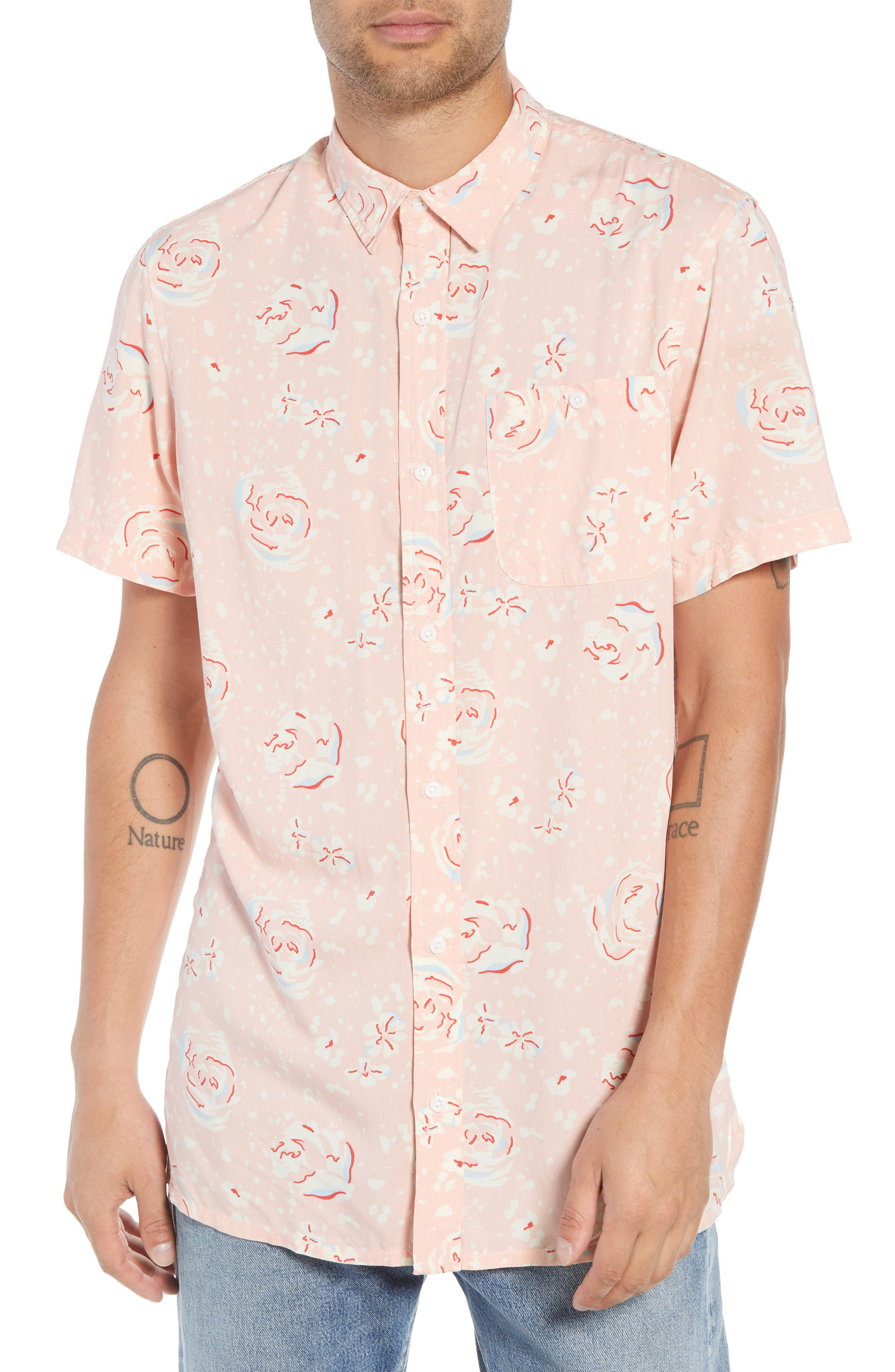 Print Woven Shirt,                         Main,                         color, Pink Silver Abstract Floral