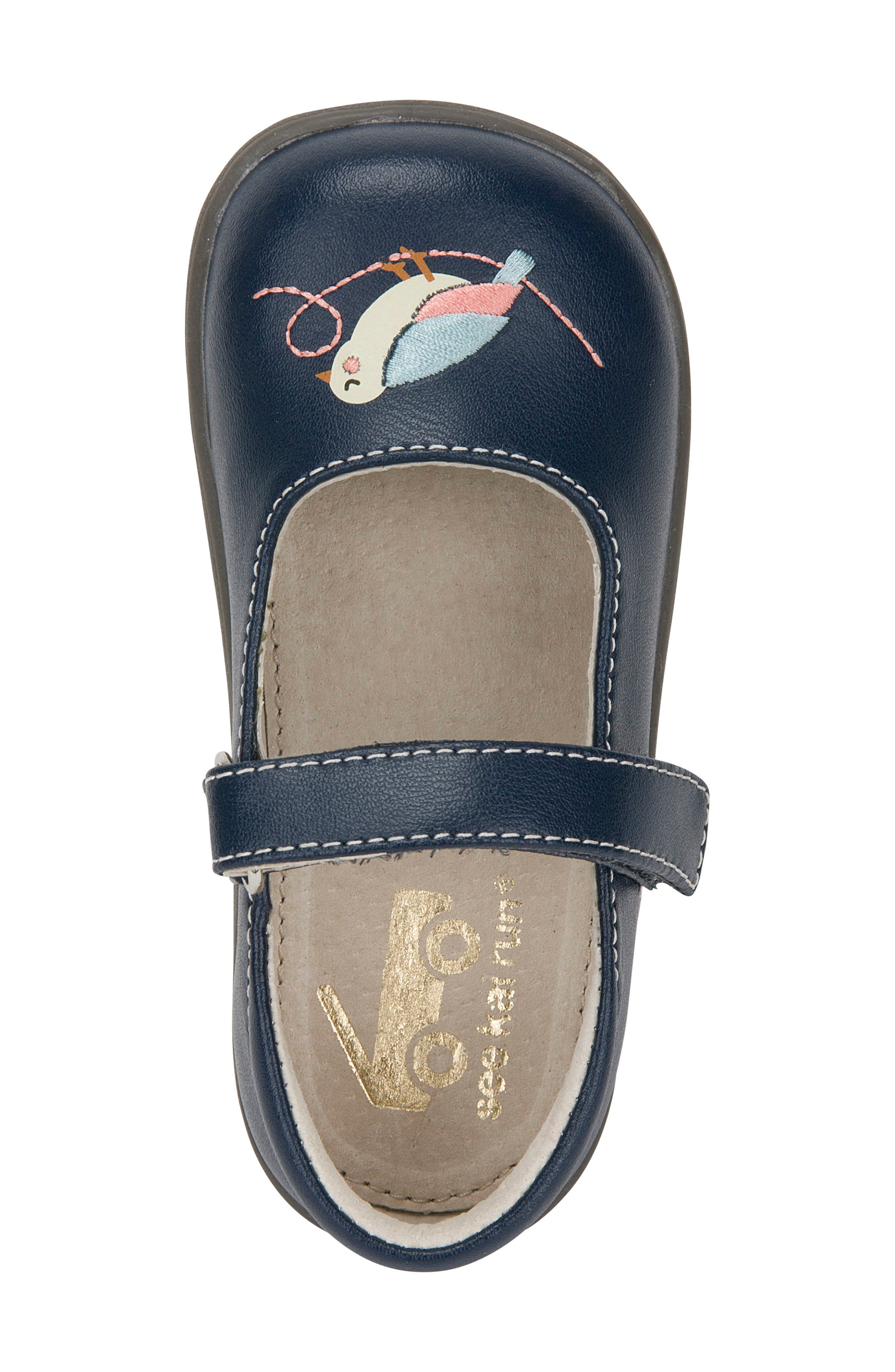 Ava Mary Jane Flat,                             Alternate thumbnail 3, color,                             Navy Leather