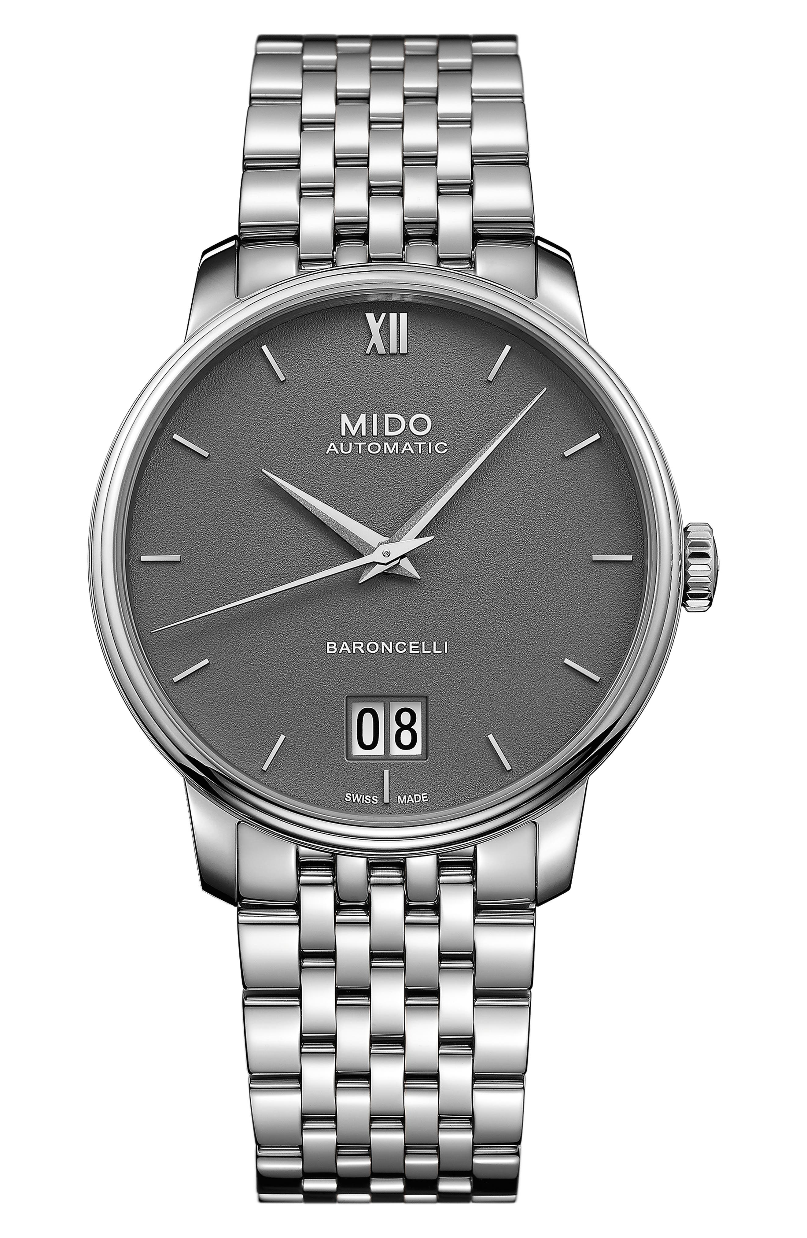 MIDO Baroncelli Iii Automatic Bracelet Watch in Silver/ Grey/ Silver