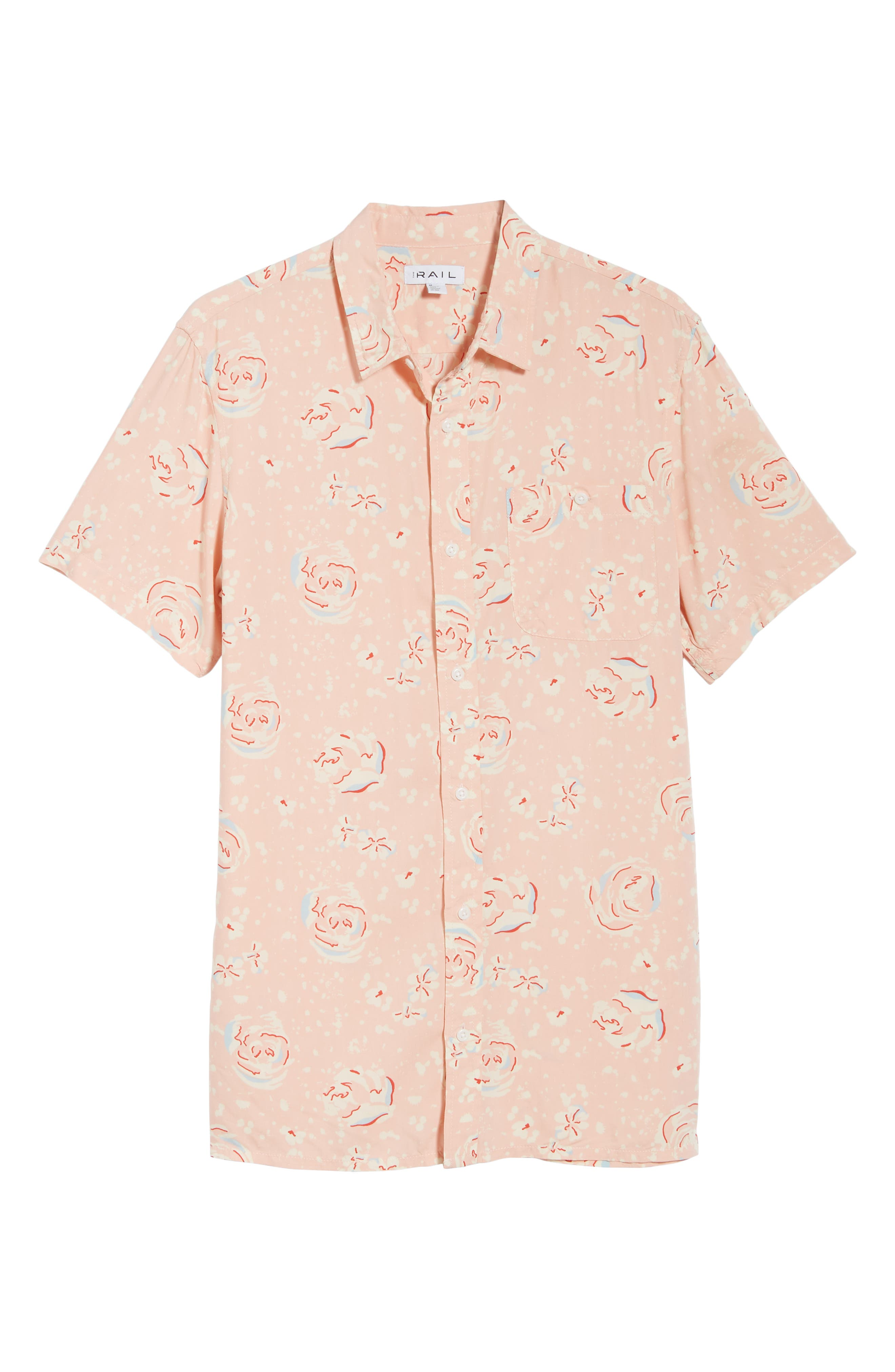 Print Woven Shirt,                             Alternate thumbnail 3, color,                             Pink Silver Abstract Floral