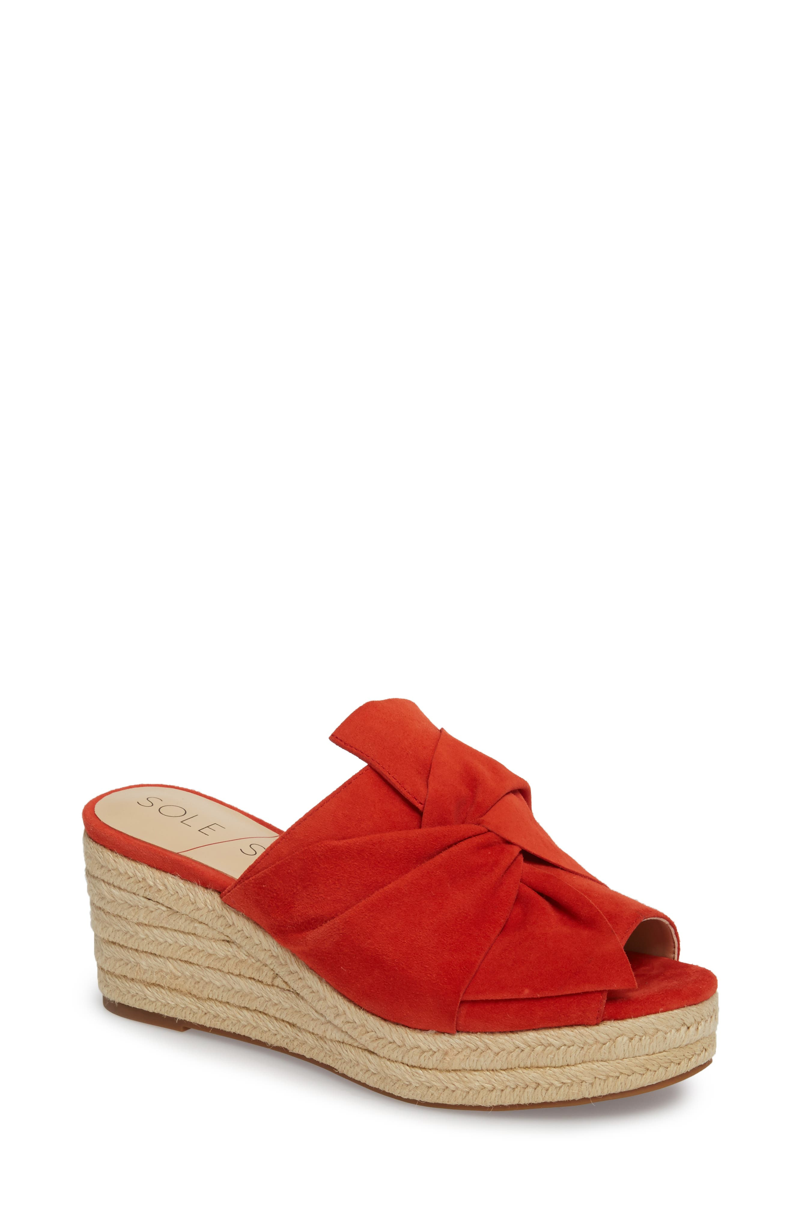 Carima Espadrille Wedge,                         Main,                         color, Bright Coral Suede