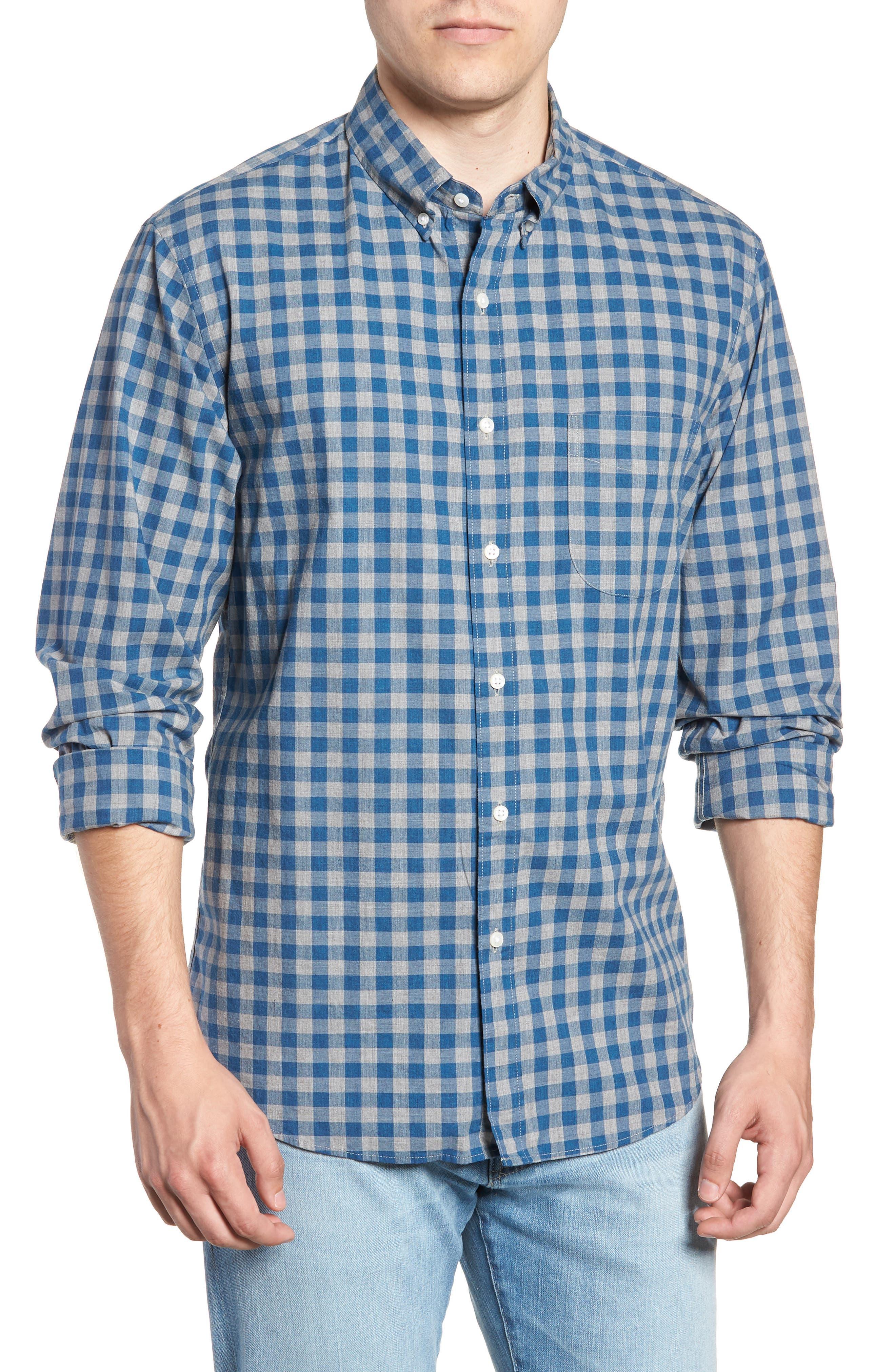 Slim Fit Stretch Secret Wash Heather Gingham Poplin Shirt,                         Main,                         color, Graphite Navy