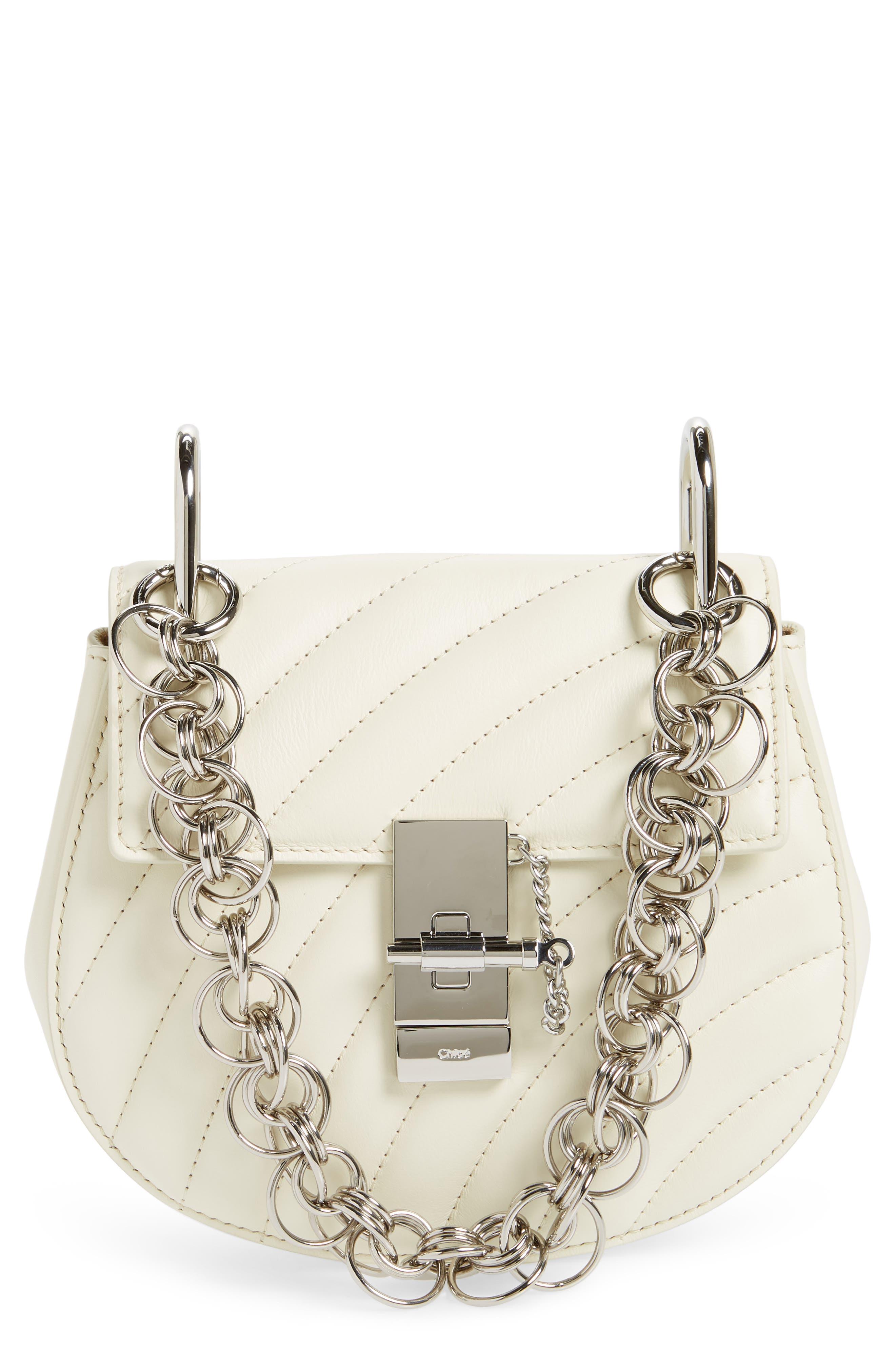 Mini Drew Bijoux Leather Shoulder Bag,                             Main thumbnail 1, color,                             Natural White