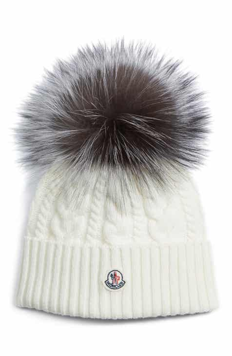 9e929134147 Moncler Cable Knit Beanie with Genuine Fox Fur Pom