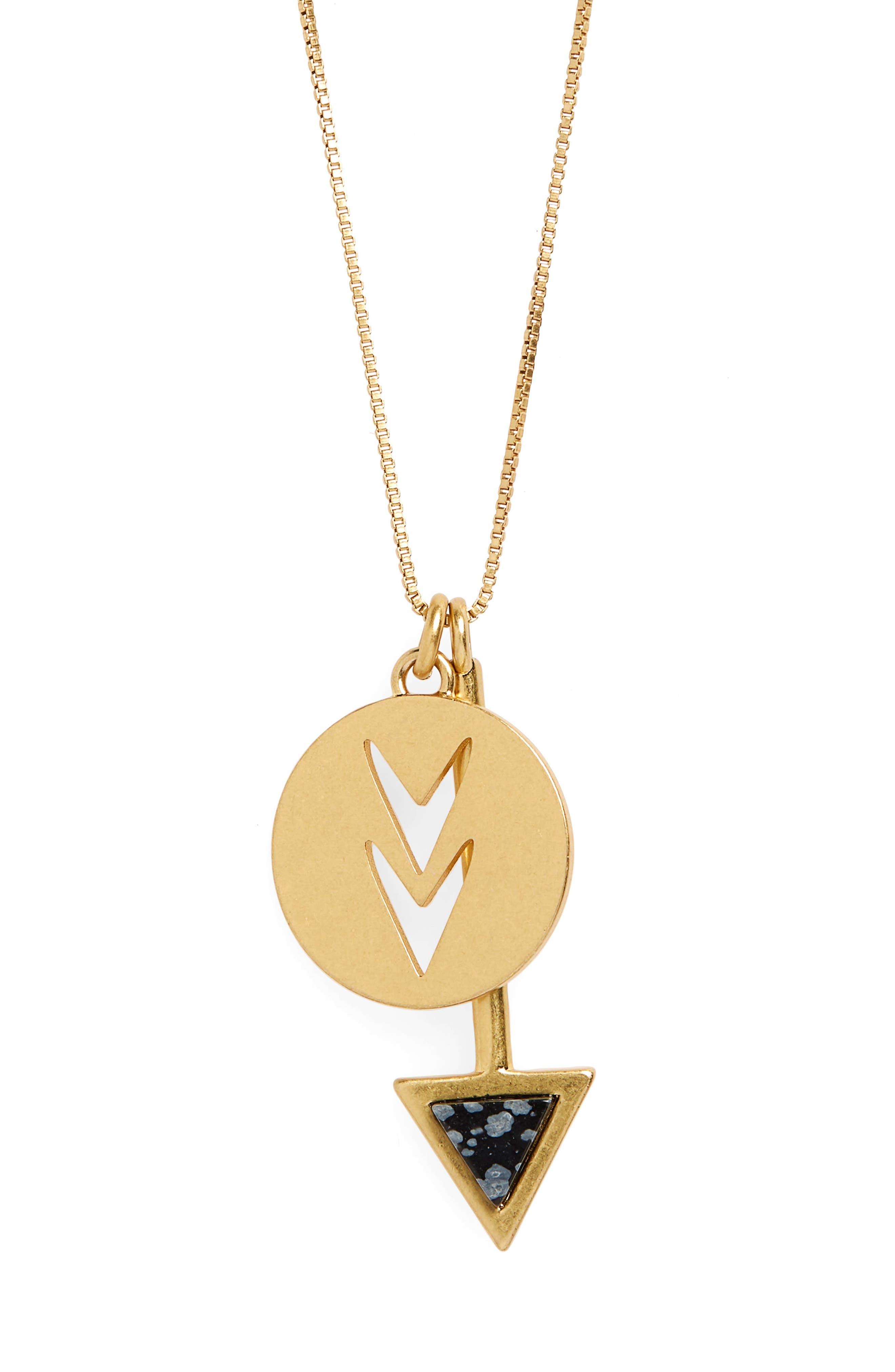 Arrowshift Pendant Necklace,                         Main,                         color, Vintage Gold