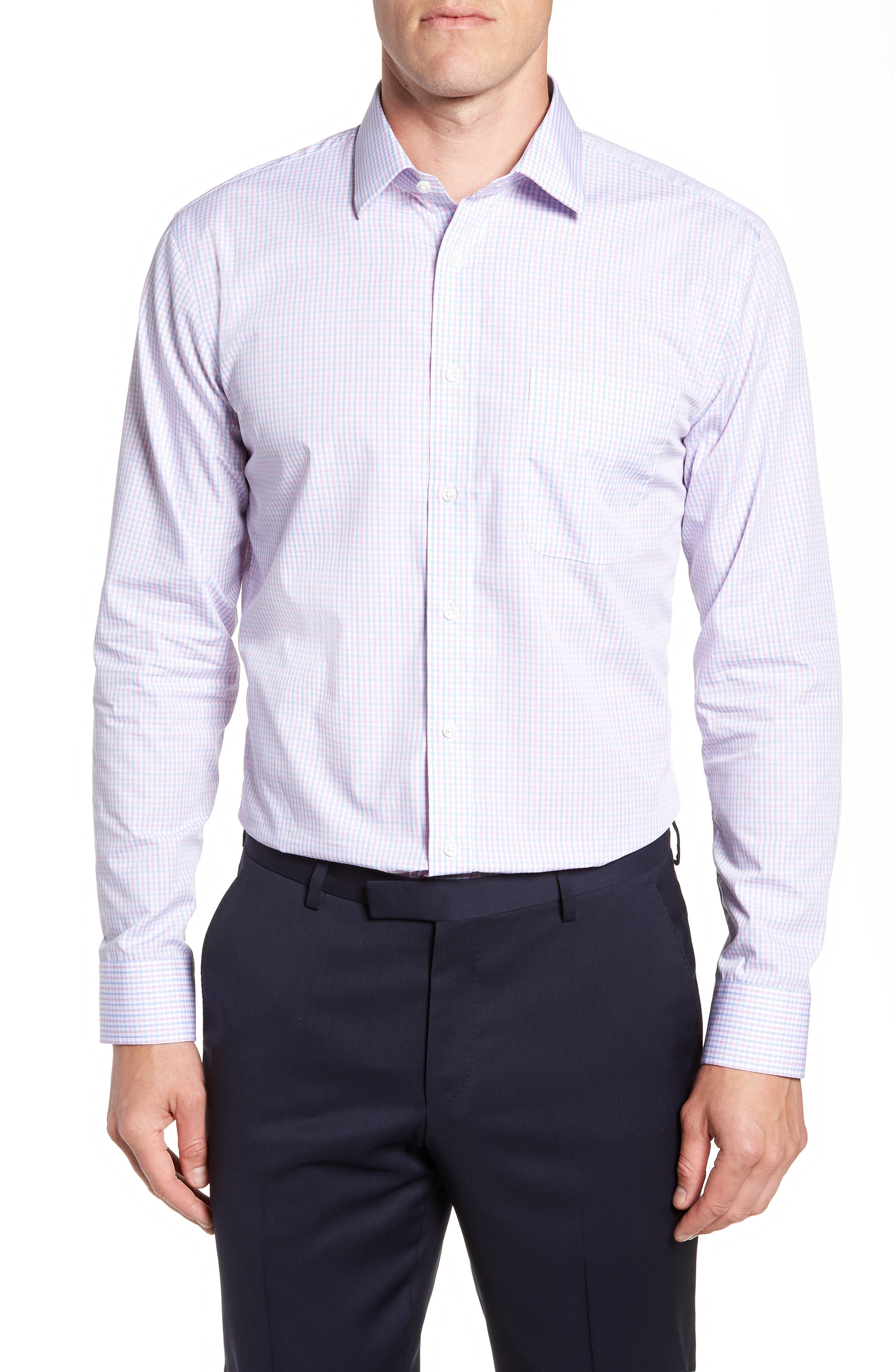 Nordstrom Trim Fit Non-Iron Check Dress Shirt,                         Main,                         color, Pink Carmine