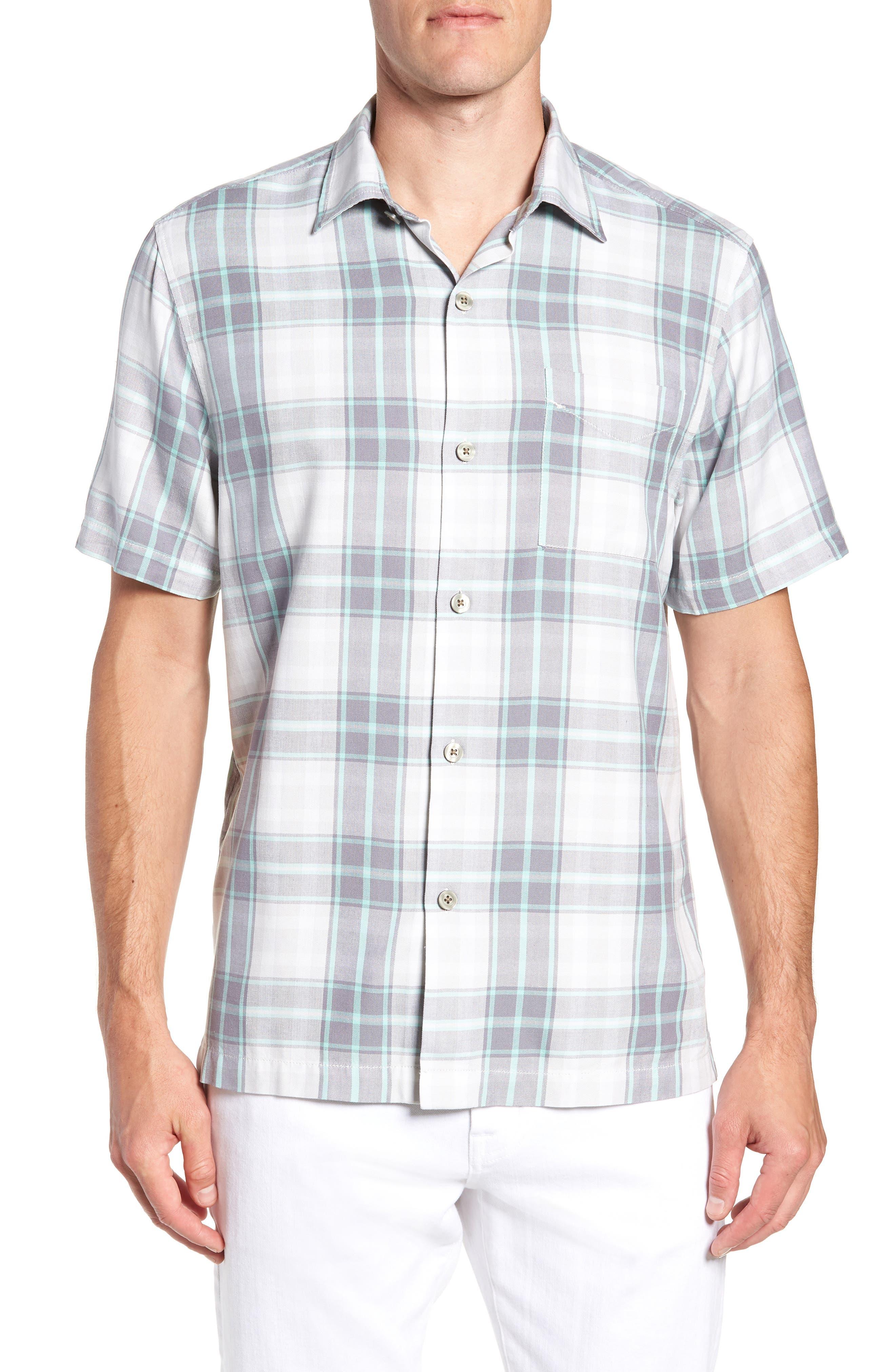 Zamora Plaid Silk Sport Shirt,                         Main,                         color, Bala Shark