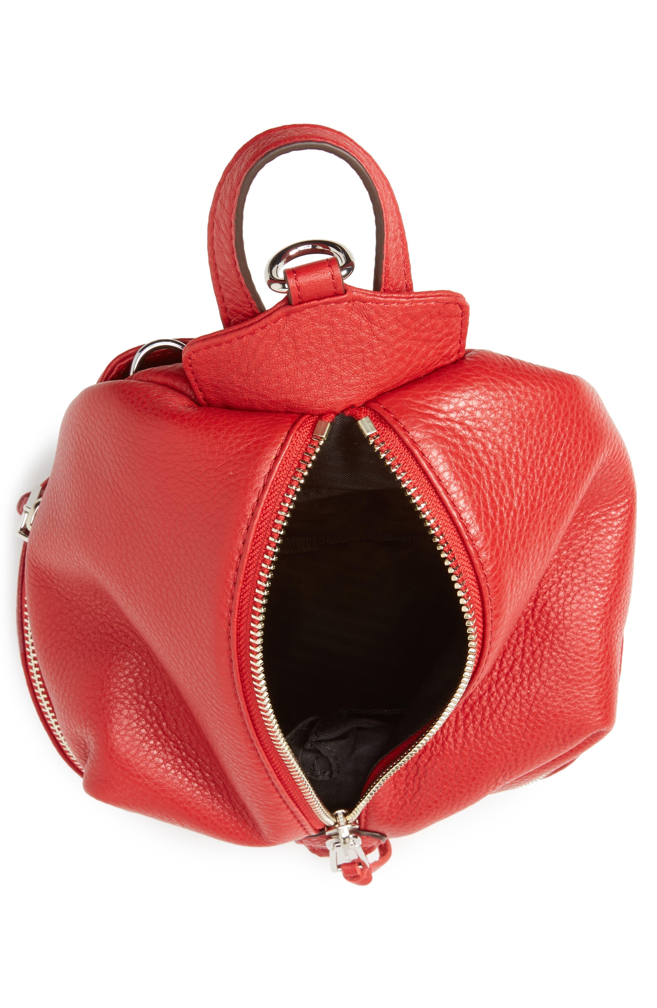 Mini Julian Nubuck Leather Convertible Backpack,                             Alternate thumbnail 6, color,                             Scarlet
