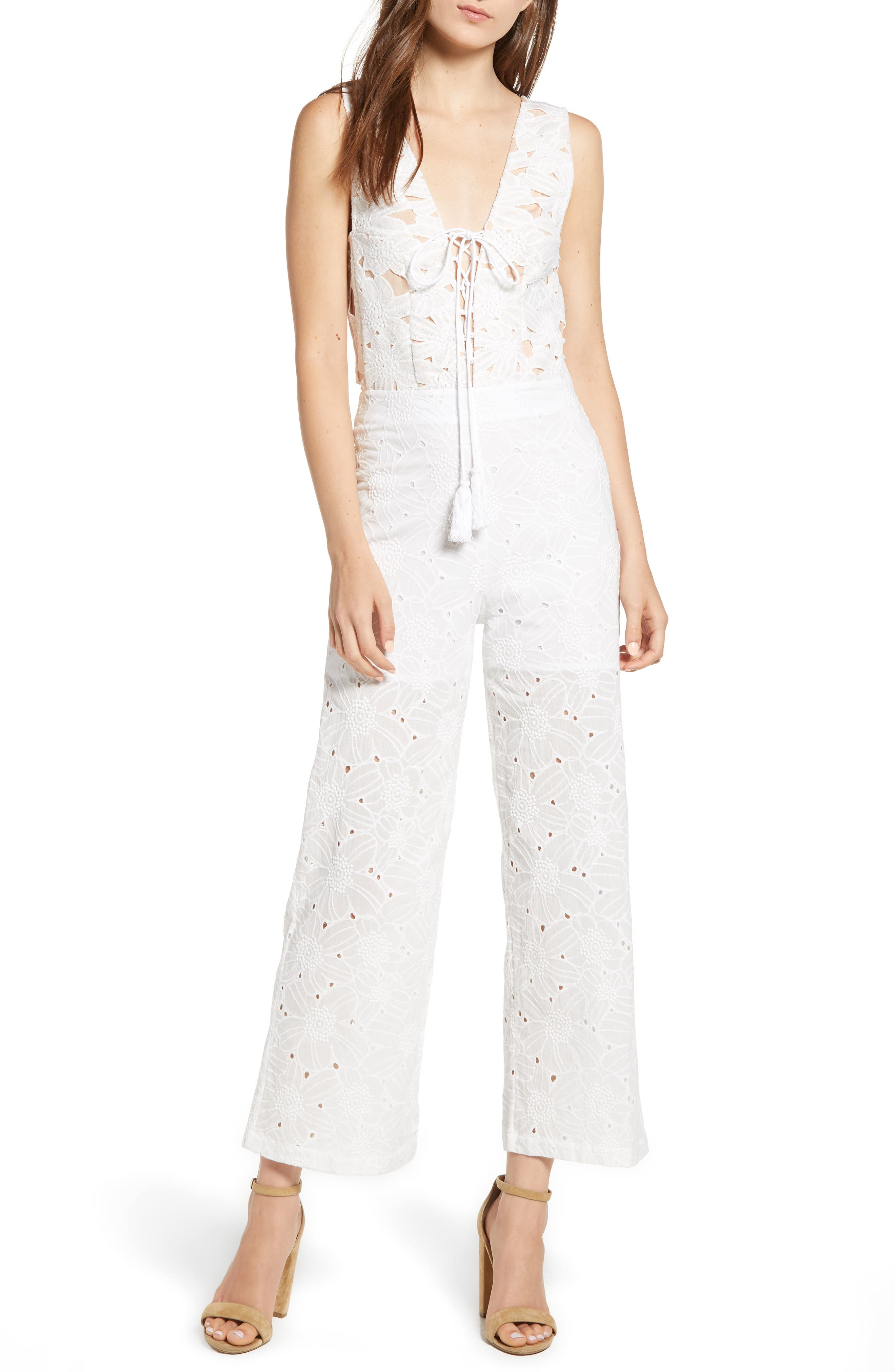 KAS NEW YORK LACE-UP FRONT EYELET JUMPSUIT