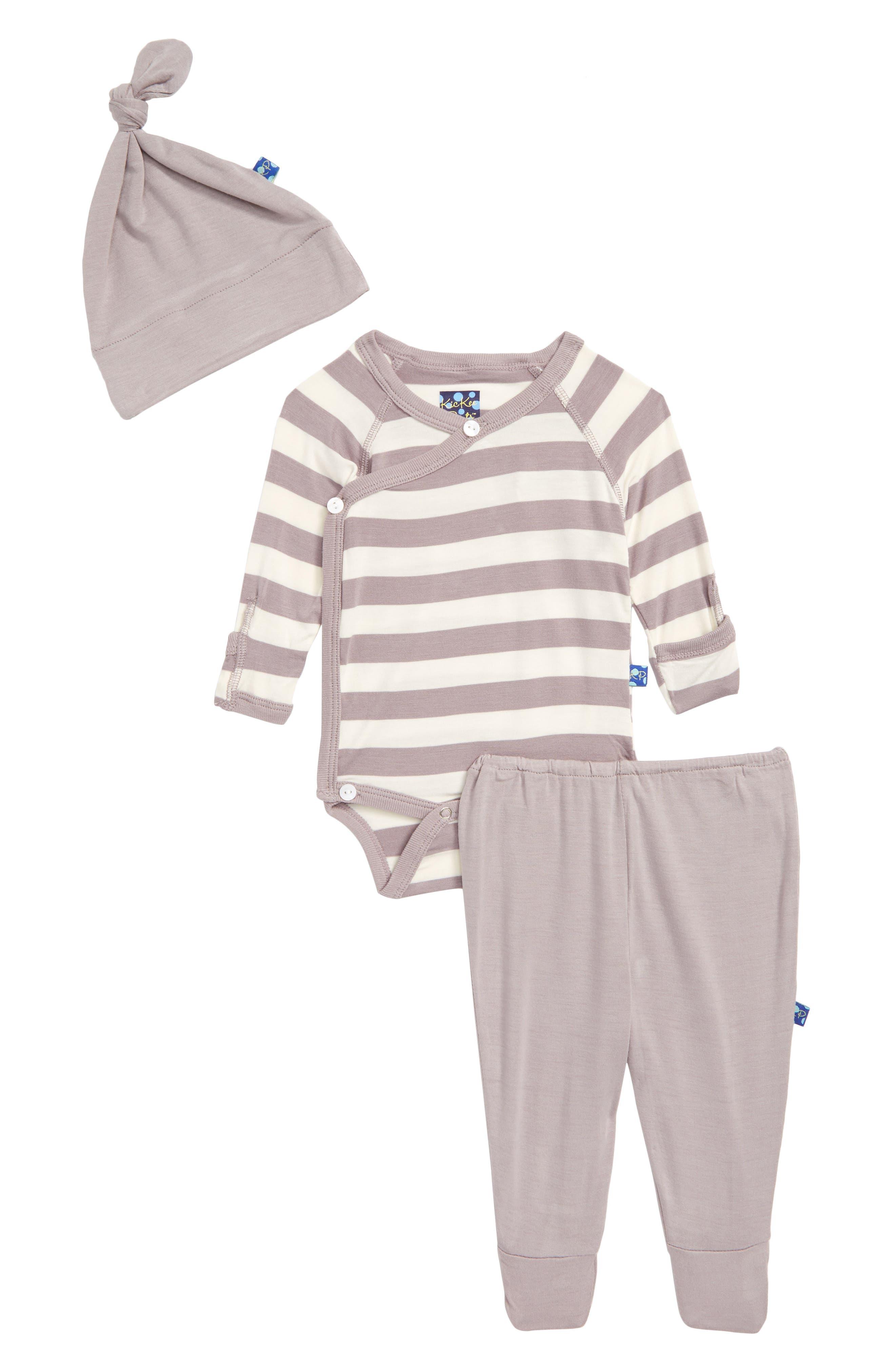 Feather Contrast Stripe Three-Piece Hat, Bodysuit & Pants Set,                         Main,                         color, Feather/ Stripe