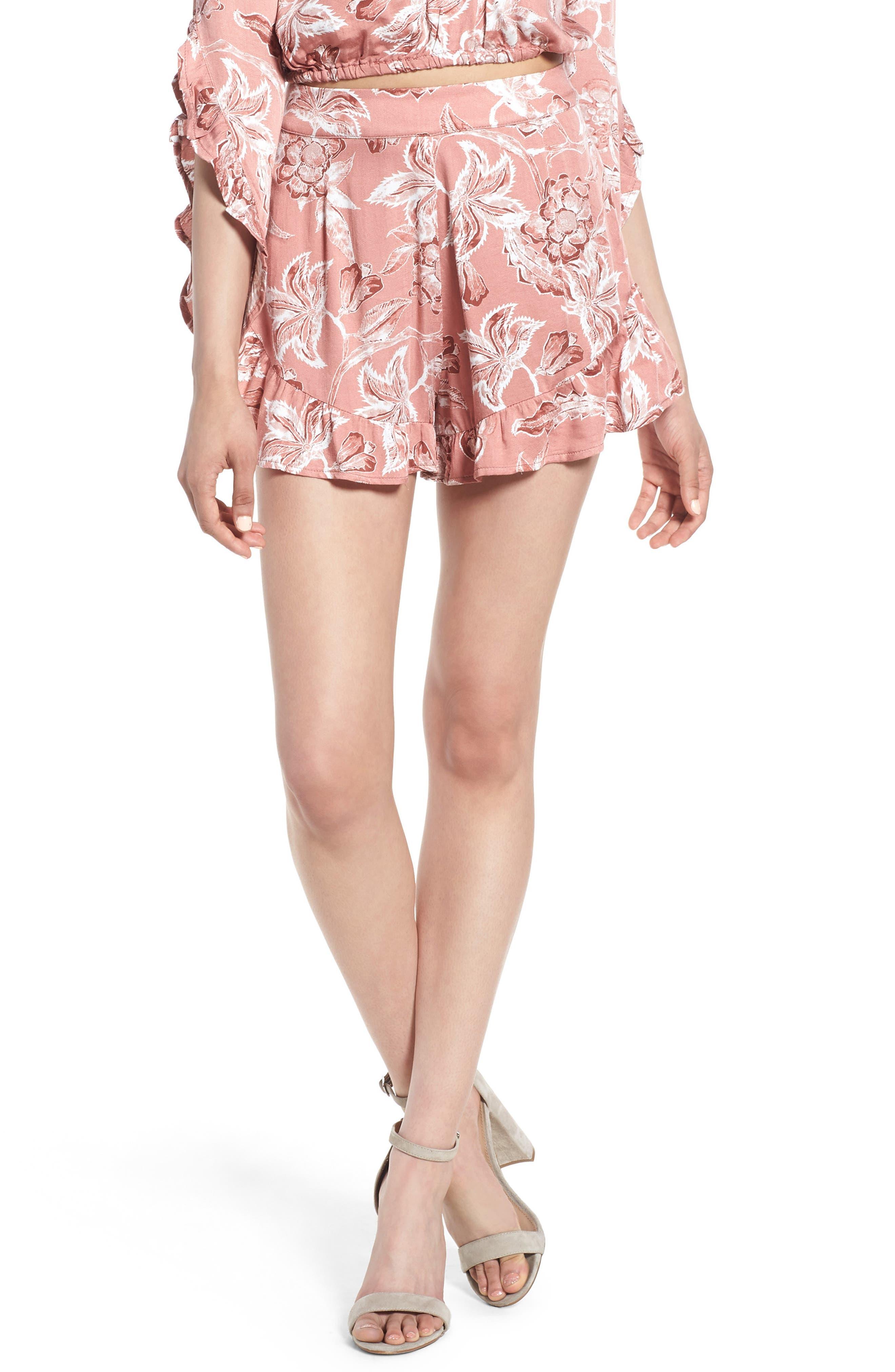 Amuse Society Wild World Ruffle Hem Shorts,                         Main,                         color, Multi