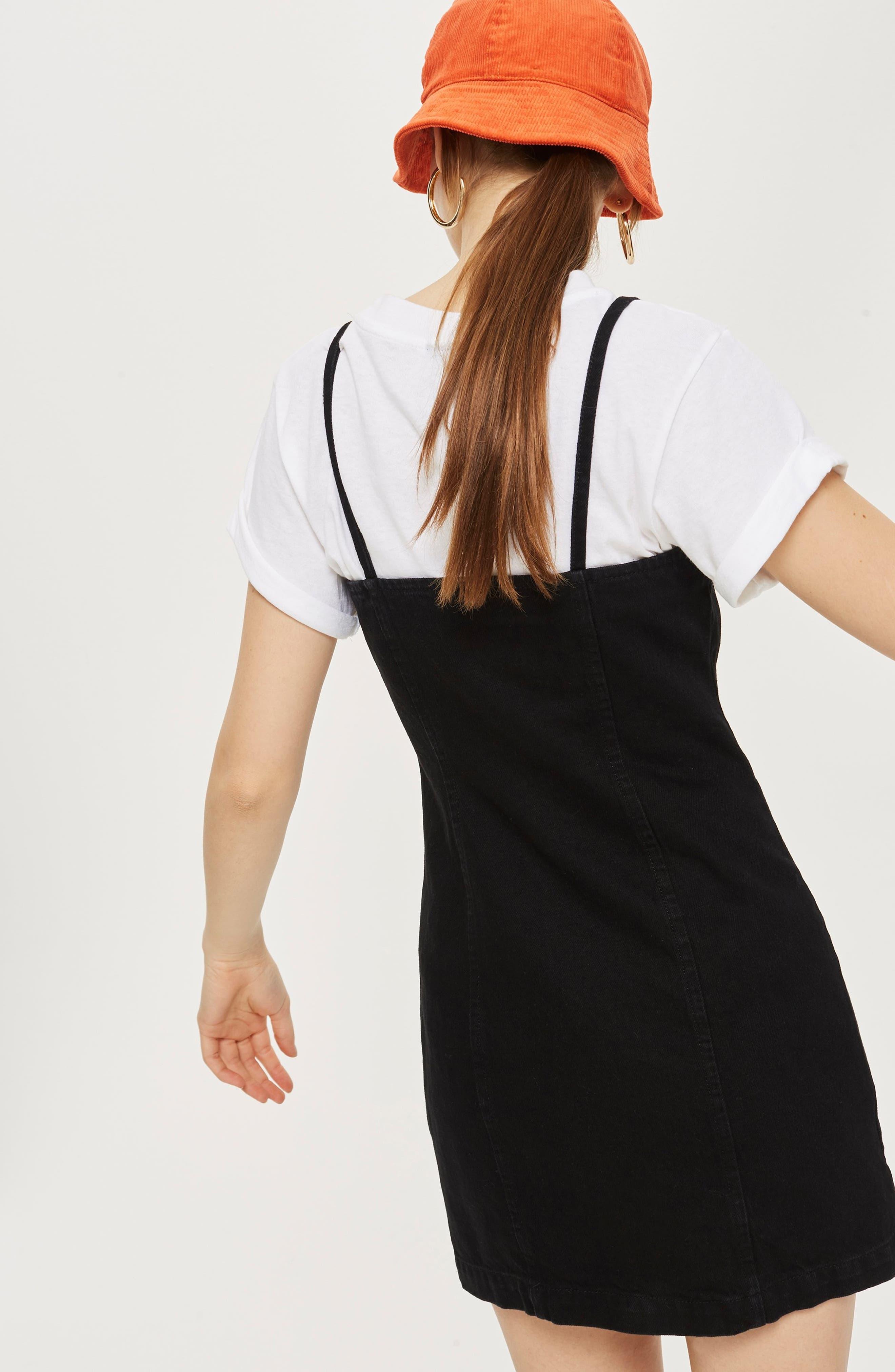 Zip Through Denim Body-Con Dress,                             Alternate thumbnail 2, color,                             Black