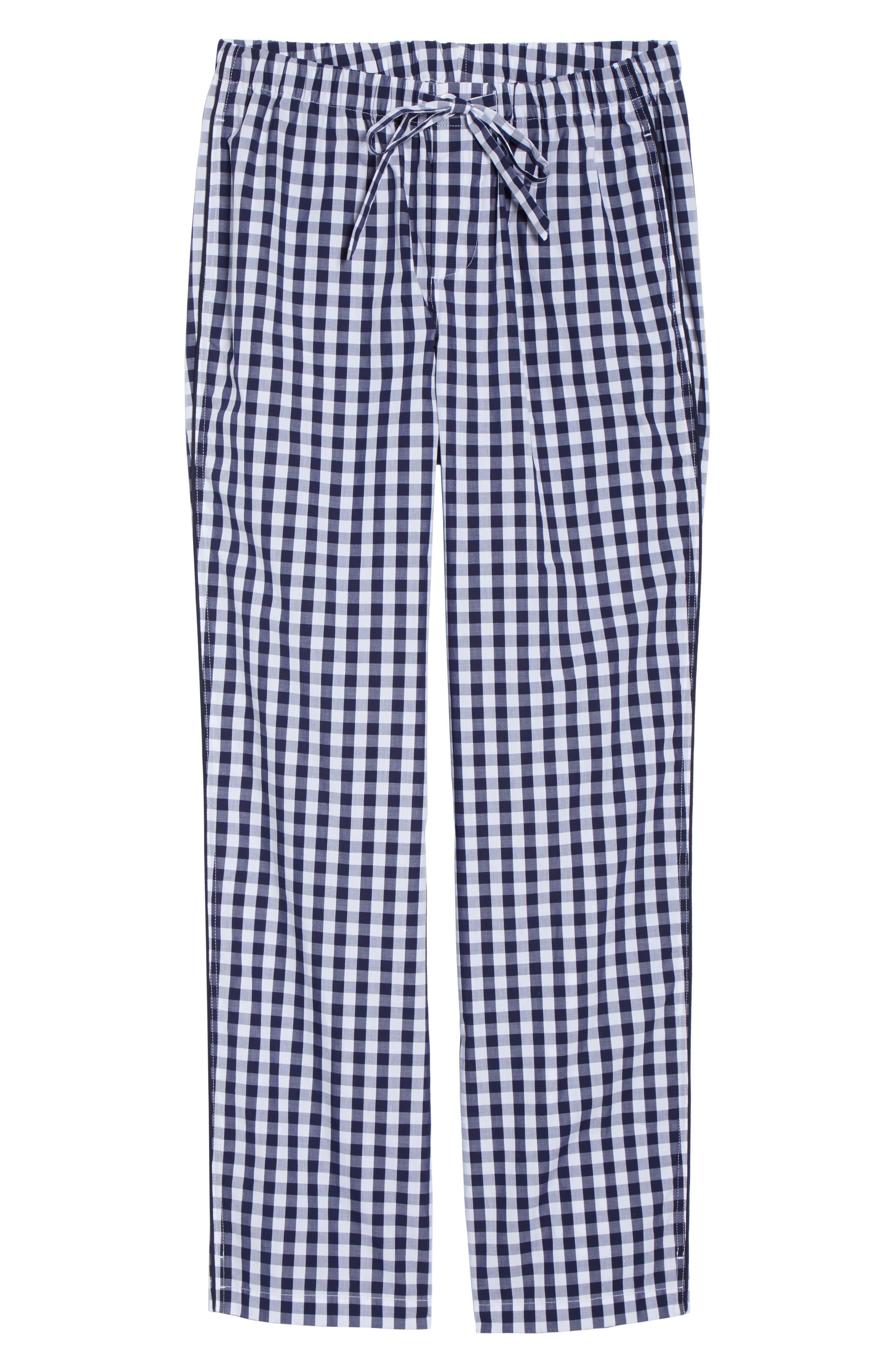 SLEEPY JONES Pajama Pants in Large Gingham Blue