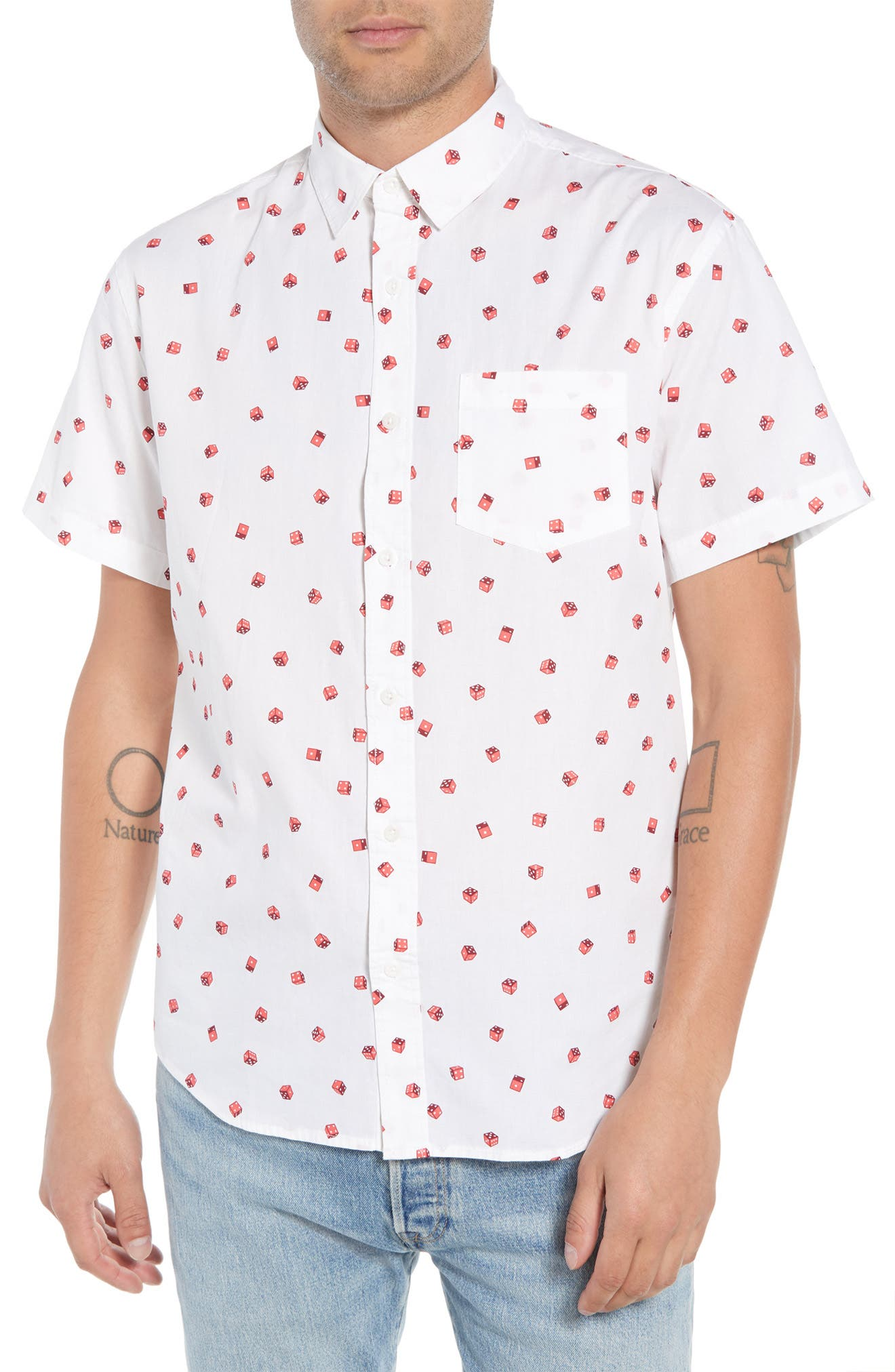 Print Camp Shirt,                             Main thumbnail 1, color,                             White / Red Rumba No Dice