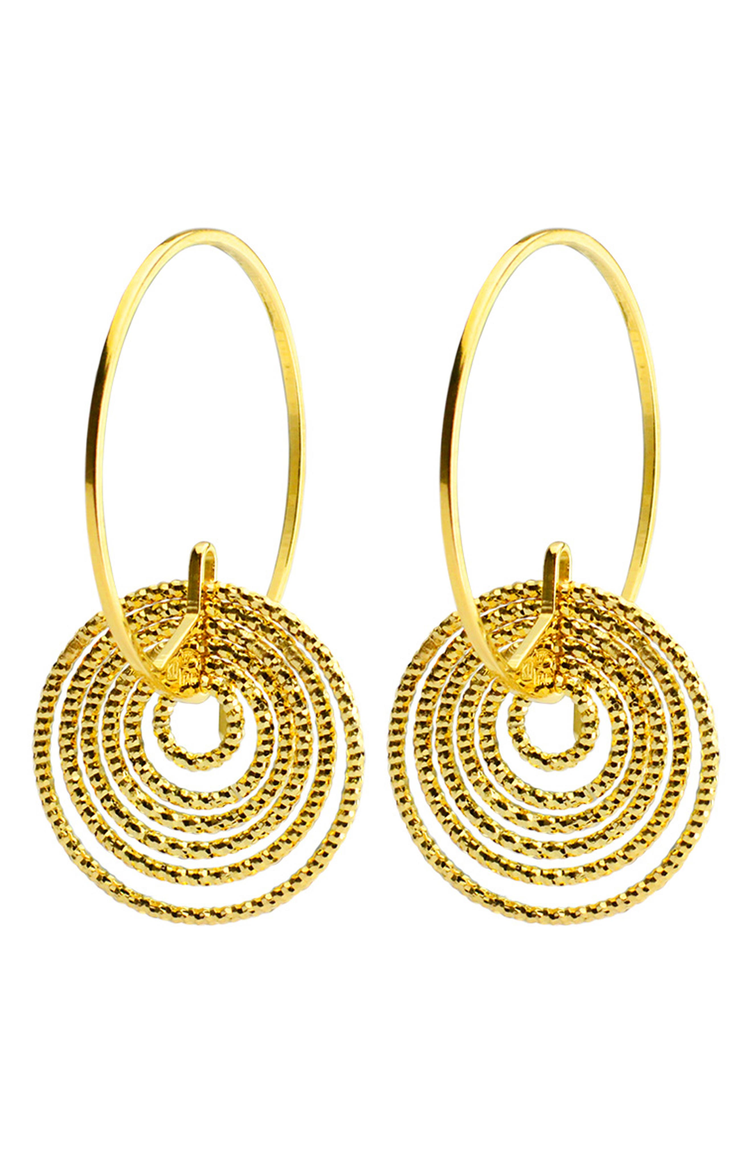 Summer Night Hoop Earrings,                             Main thumbnail 1, color,                             Gold