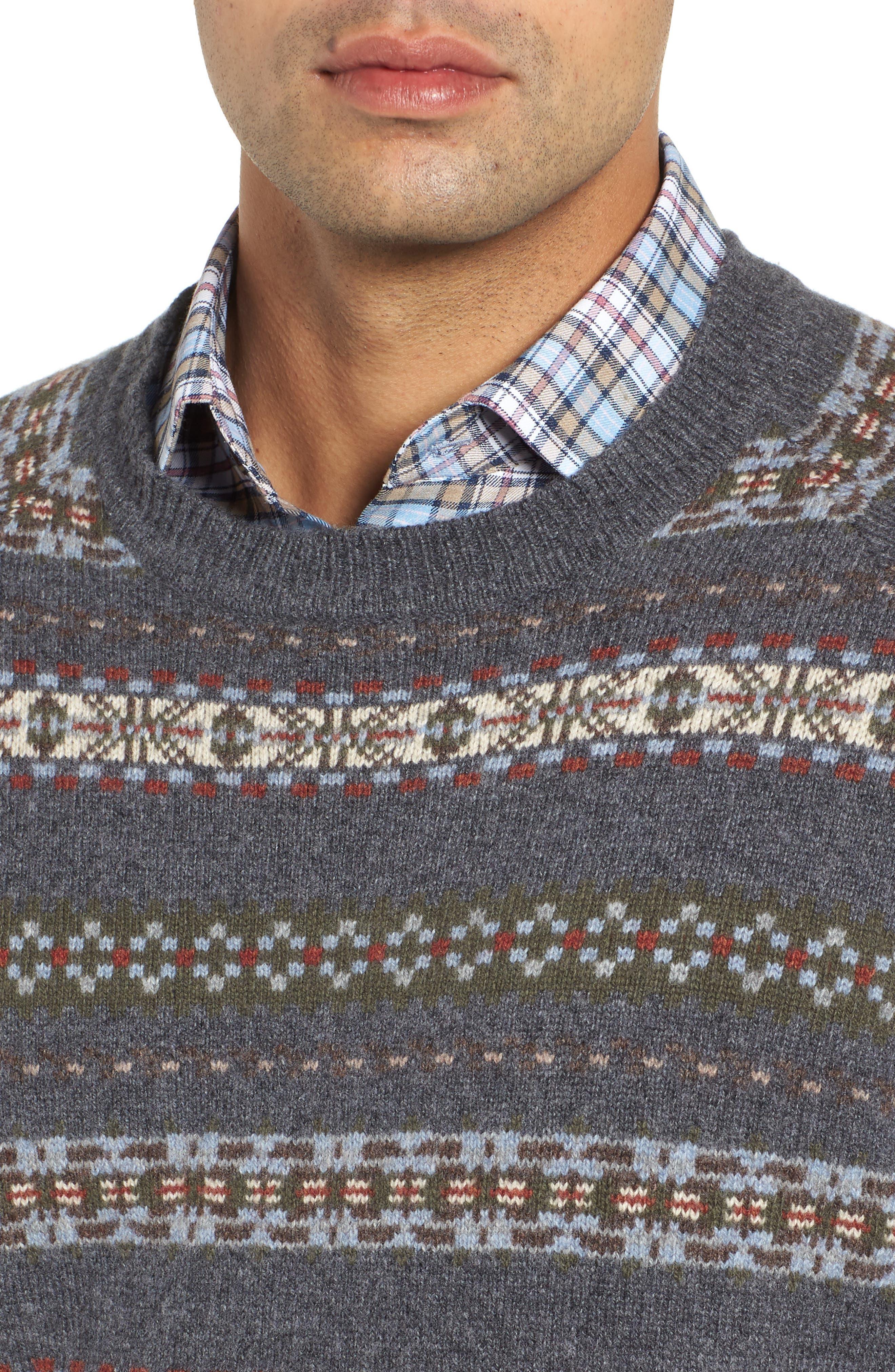 Mountainside Fair Isle Crewneck Sweater,                             Alternate thumbnail 3, color,                             Black