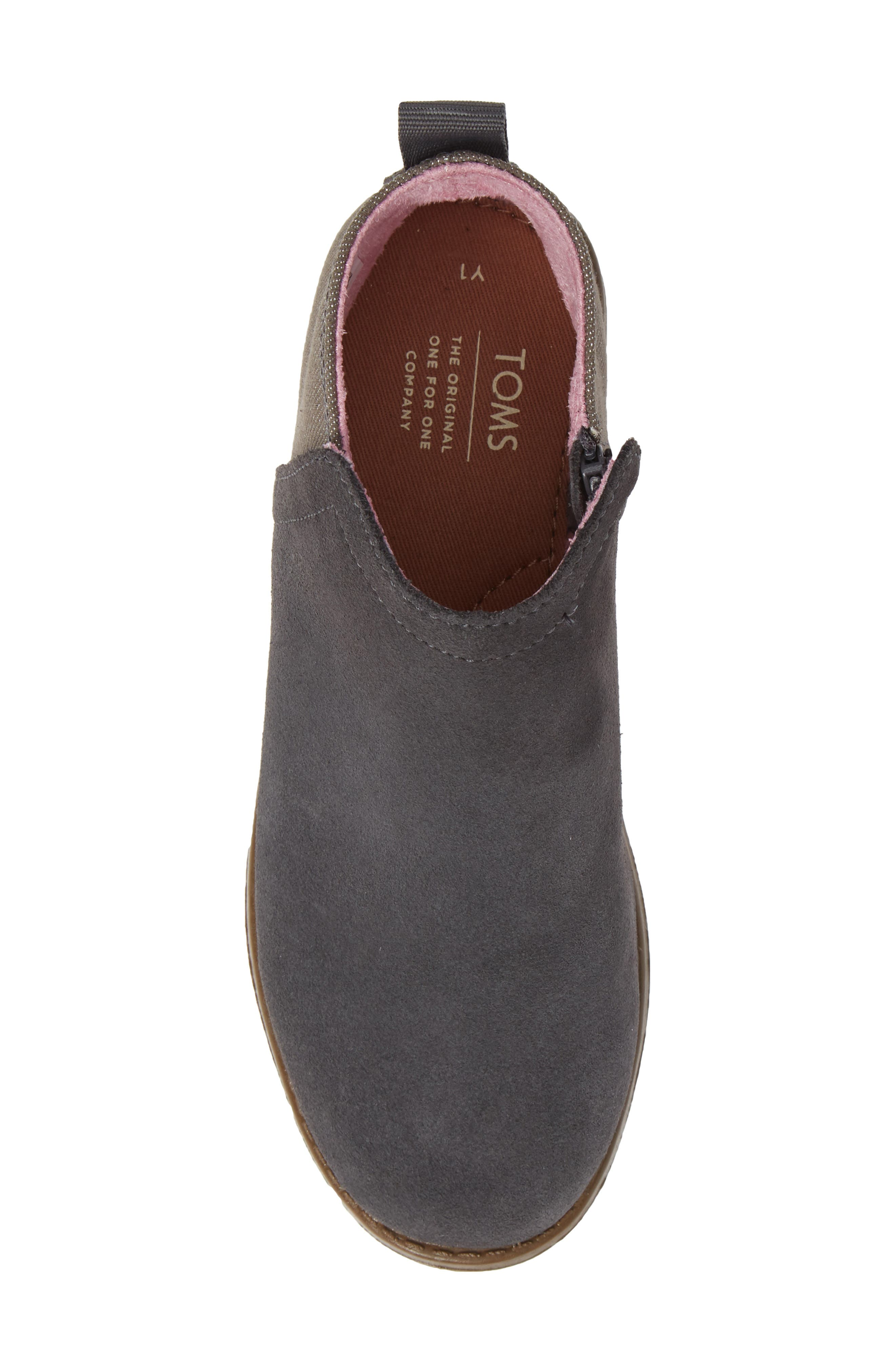 Deia Mixed Media Bootie,                             Alternate thumbnail 5, color,                             Grey Suede Glimmer