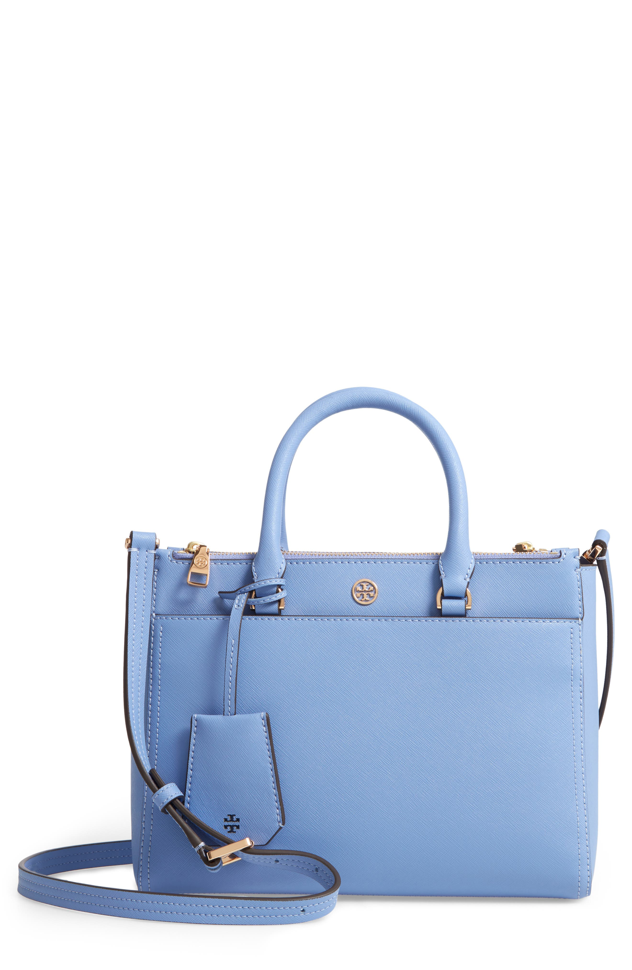 Small Robinson Double-Zip Leather Tote,                         Main,                         color, Bow Blue