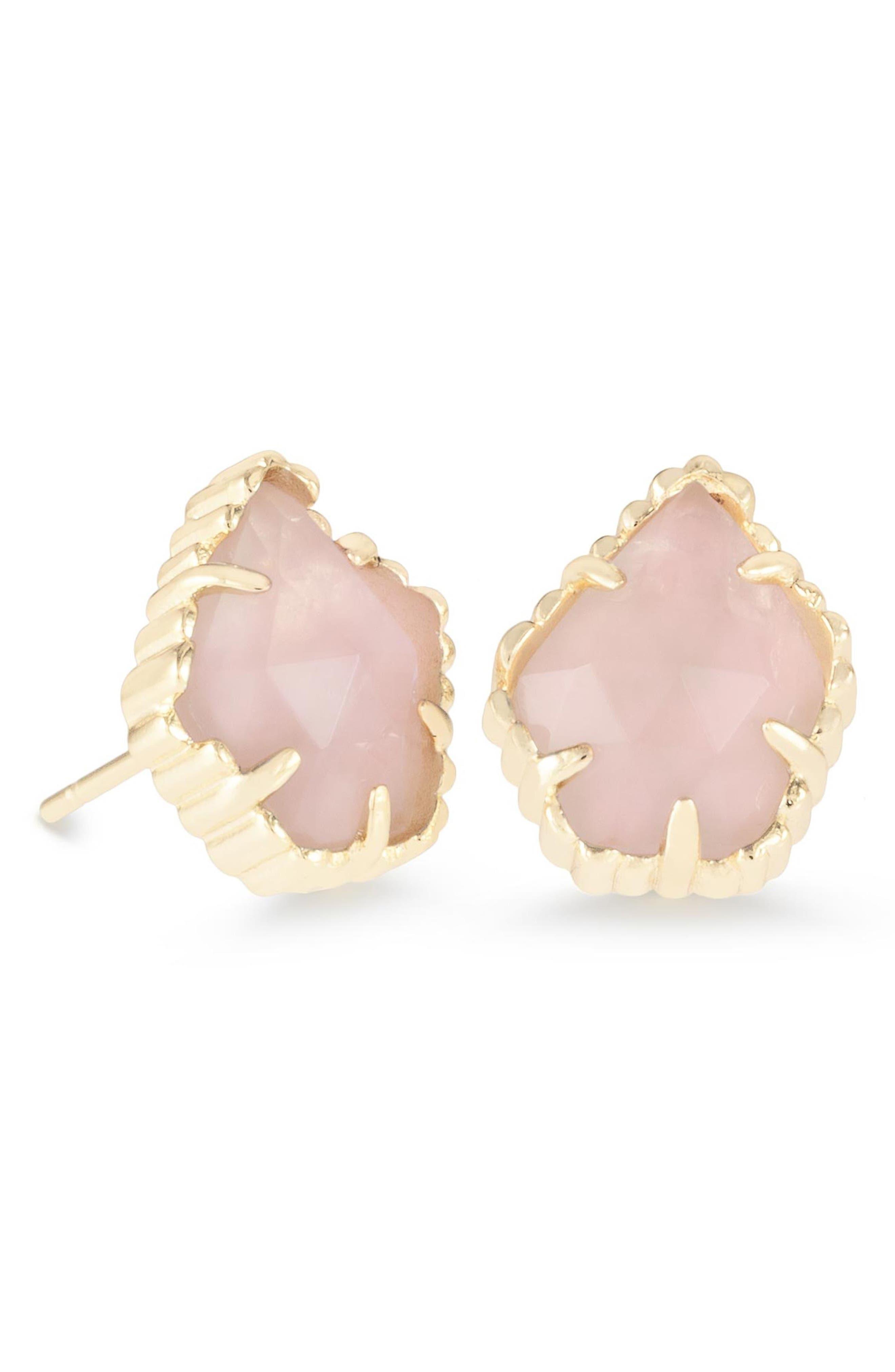 Tessa Stone Stud Earrings,                             Main thumbnail 1, color,                             Gold/ Rose Quartz