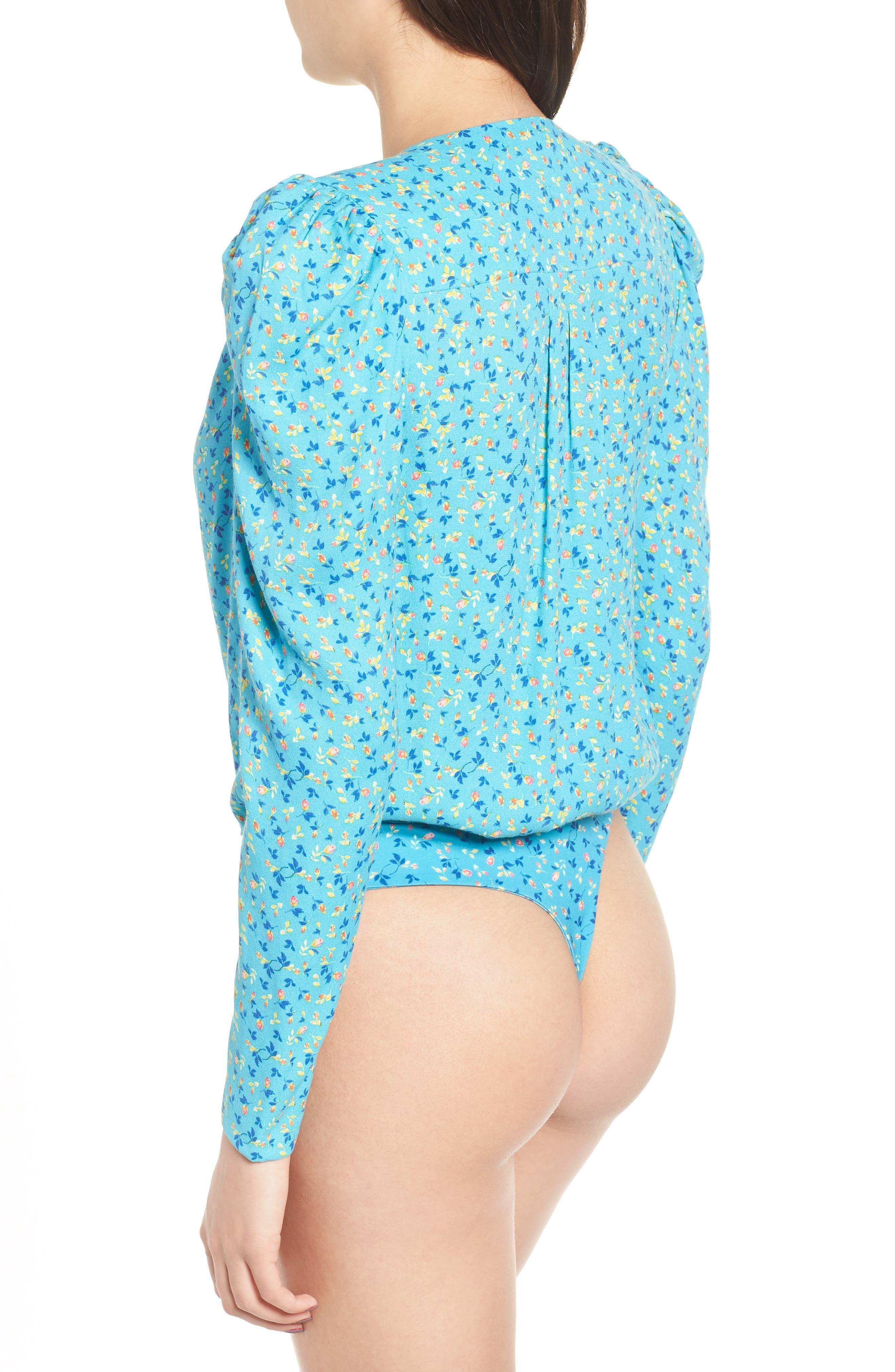 Nora Thong Bodysuit,                             Alternate thumbnail 3, color,                             Blue Ditsy