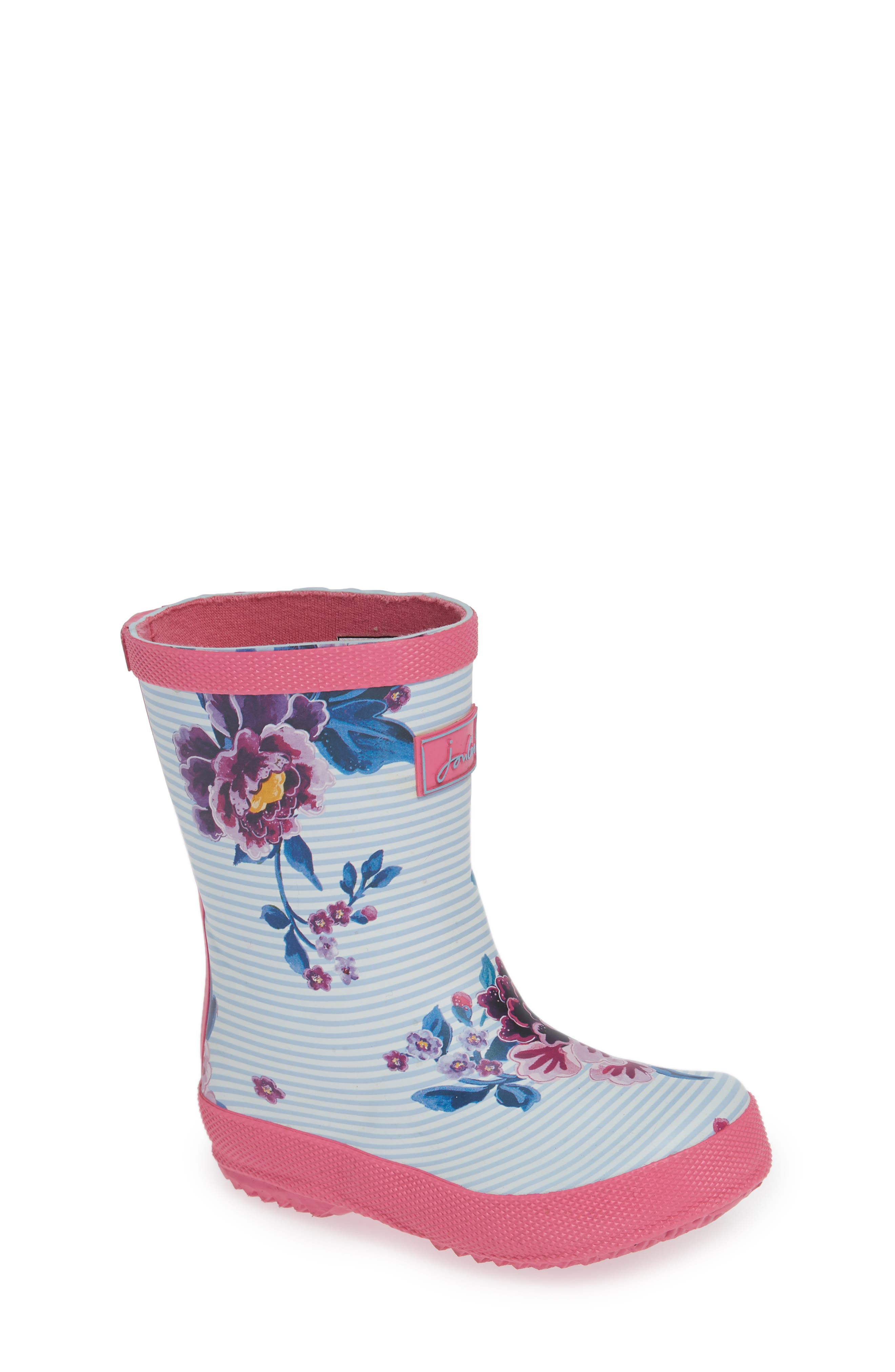 Baby Welly Print Waterproof Boot,                         Main,                         color, Sky Blue Chinoiserie Floral