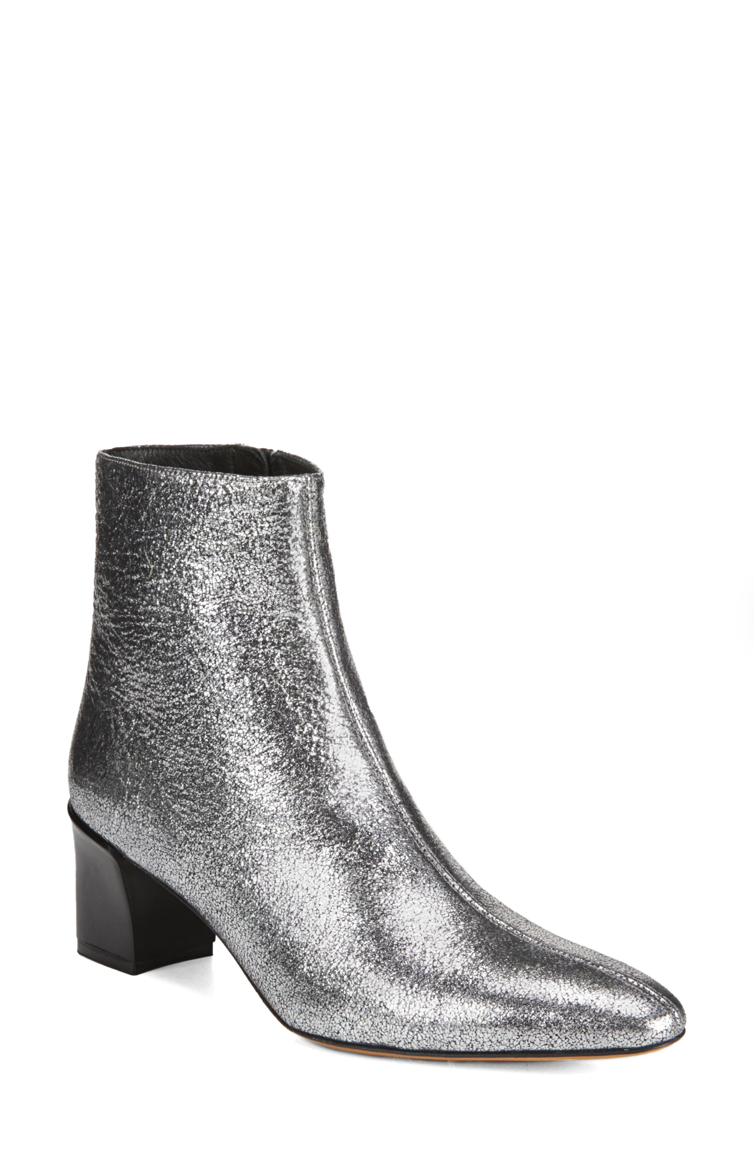 Women'S Lanica Metallic Leather Block Heel Booties in Silver