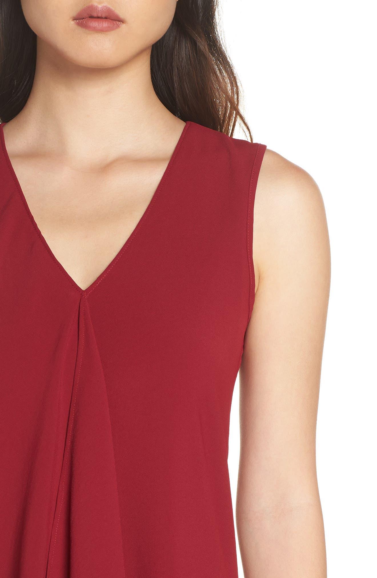 Ruffle Front Crepe High/Low Dress,                             Alternate thumbnail 4, color,                             Alizarin Crimson