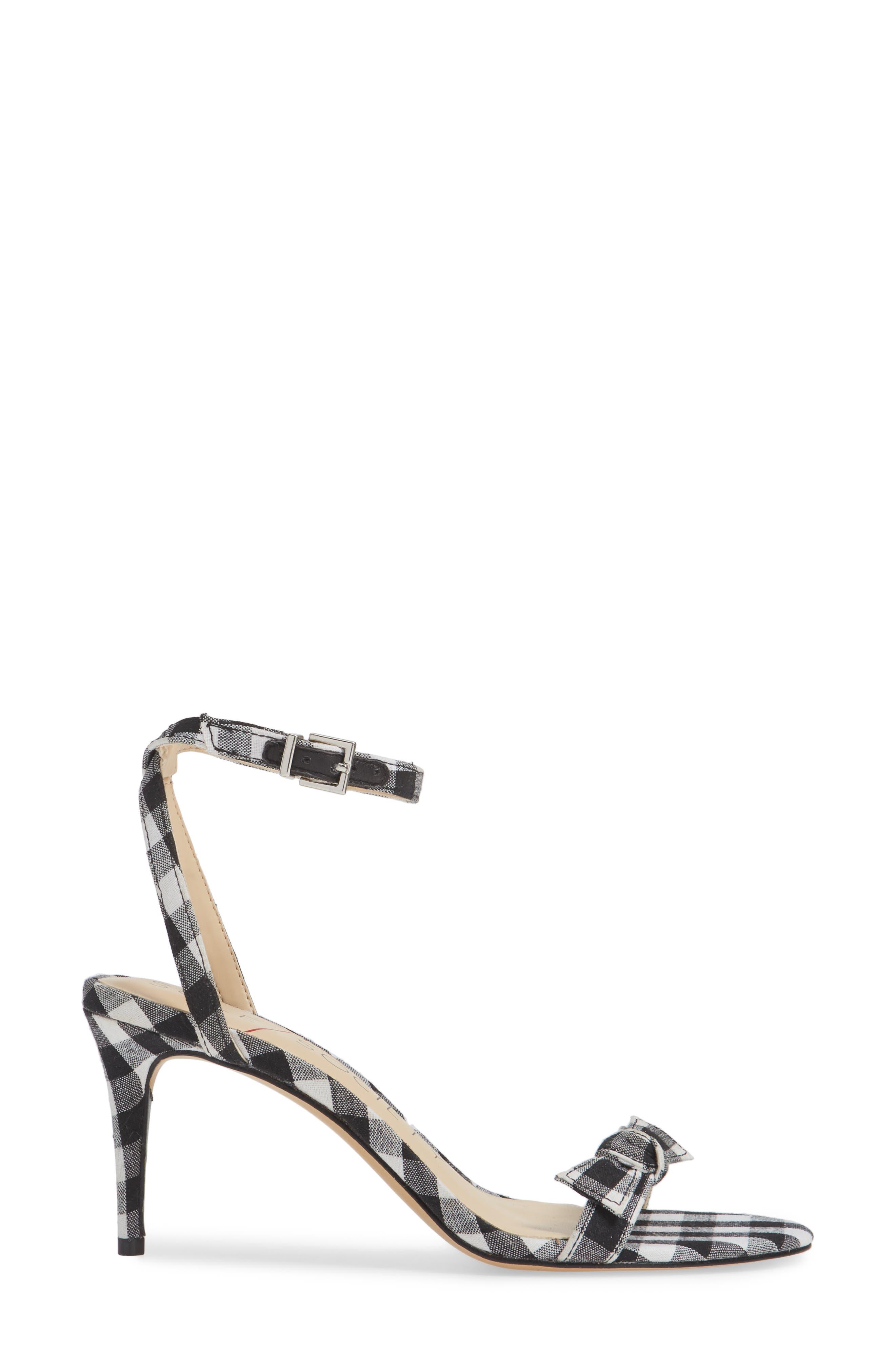 Avrilie Knotted Sandal,                             Alternate thumbnail 5, color,                             Black/ White Gingham