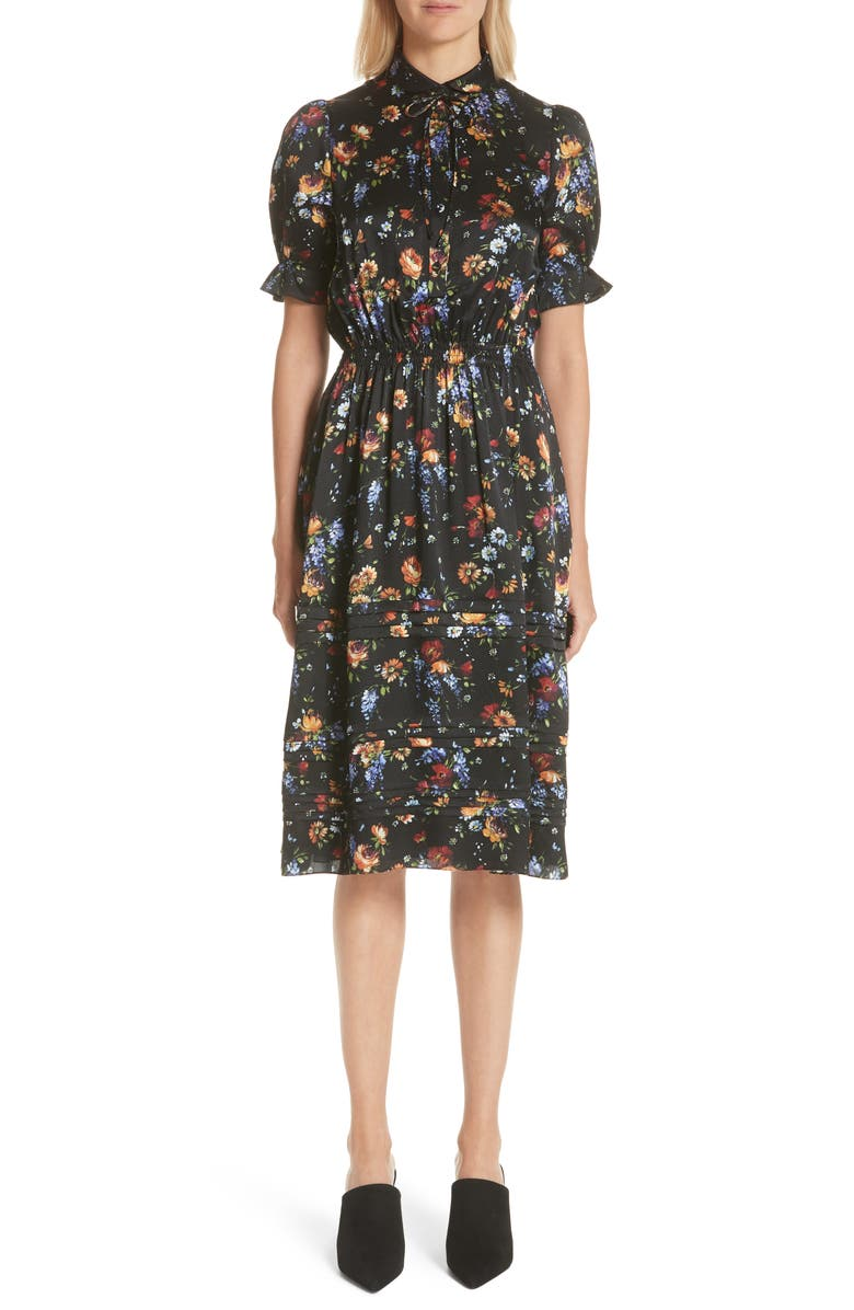 Floral Print Hammered Silk Dress