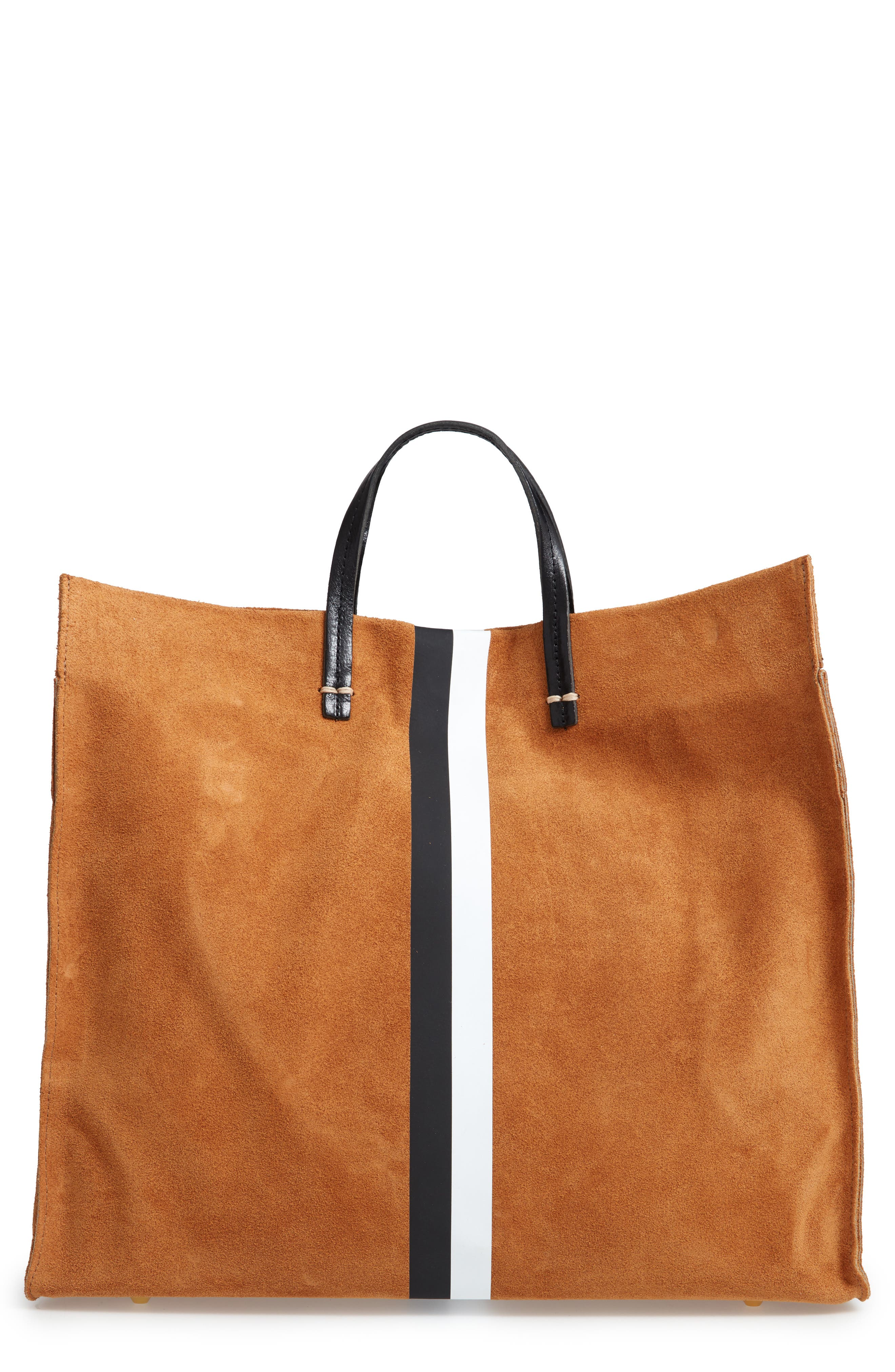 Simple Stripe Suede Tote,                             Main thumbnail 1, color,                             Camel