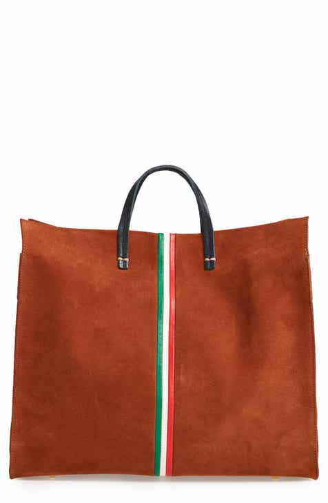 b6d0c92e8d Clare V. Mini Stripe Simple Suede Tote