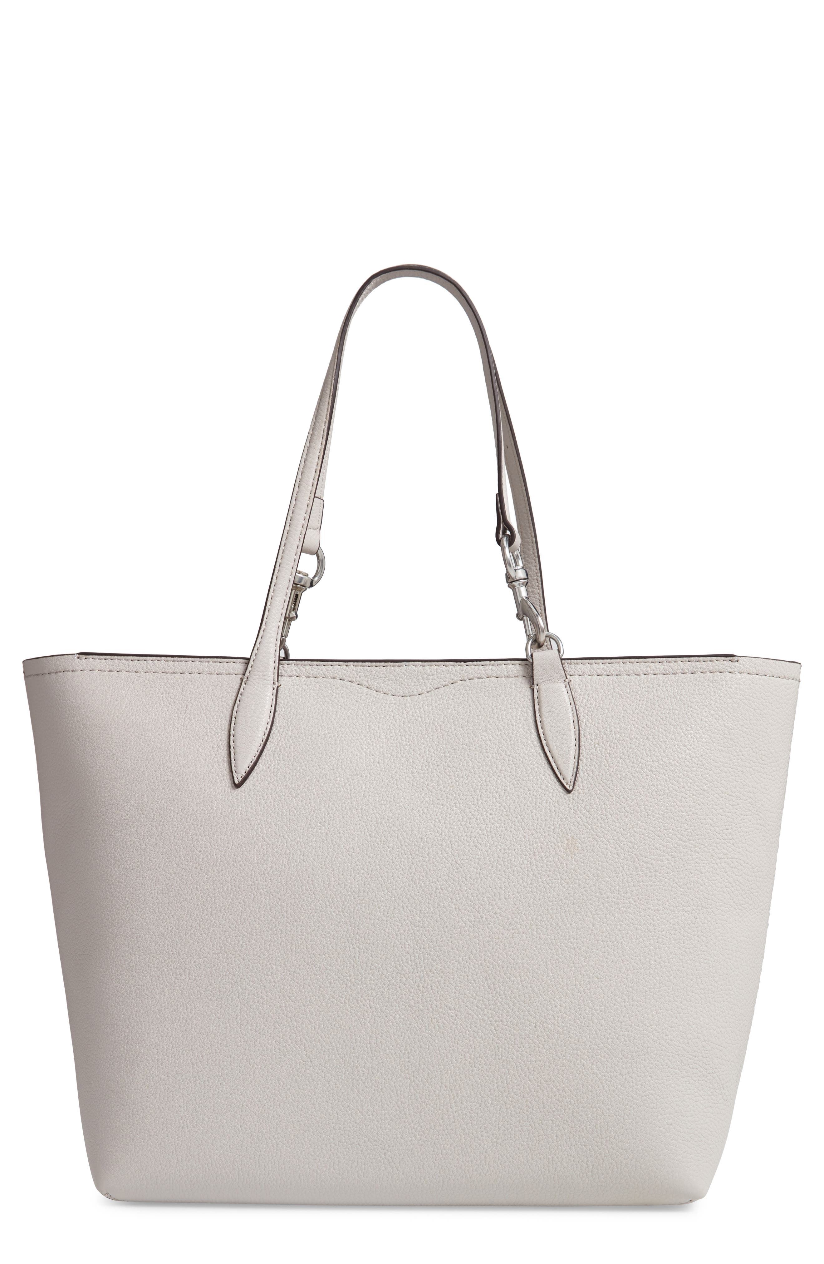 SHERRY DOG CLIP LEATHER TOTE - GREY