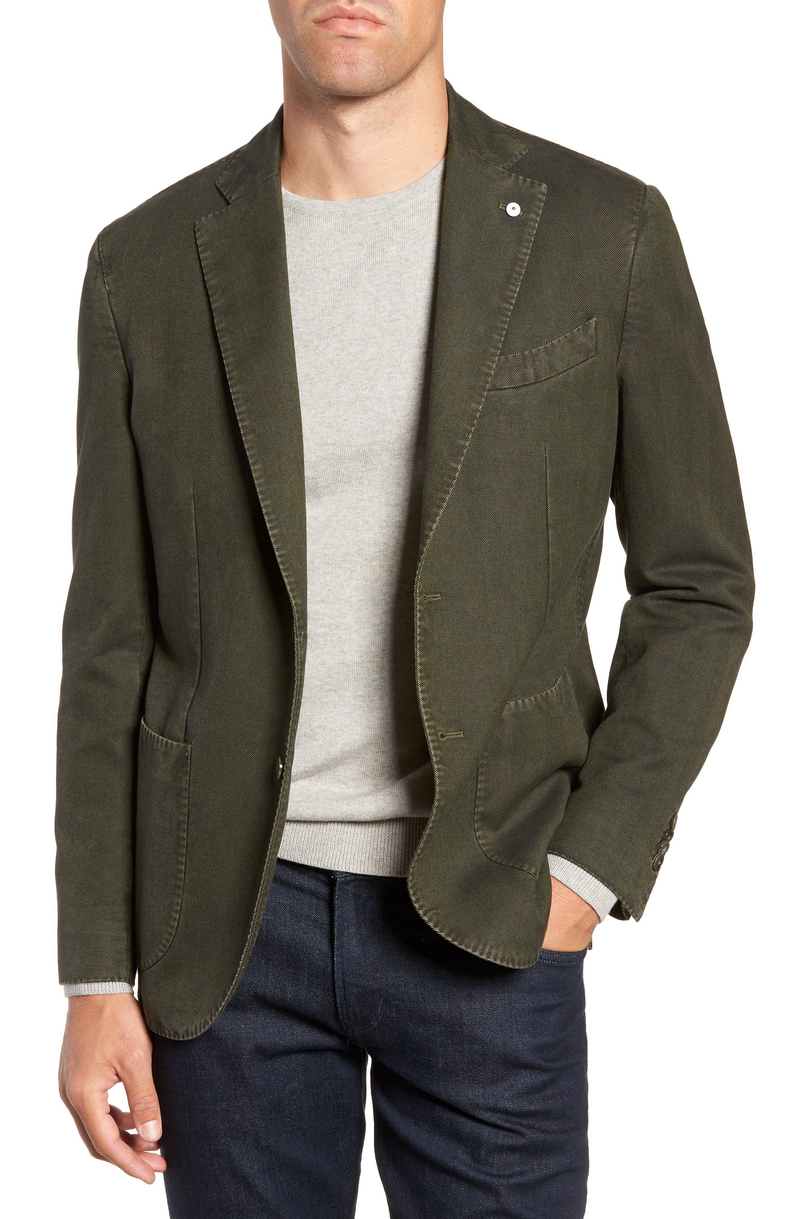L.B.M. L.B.M 1911 Classic Fit Herringbone Cotton Sport Coat in Green