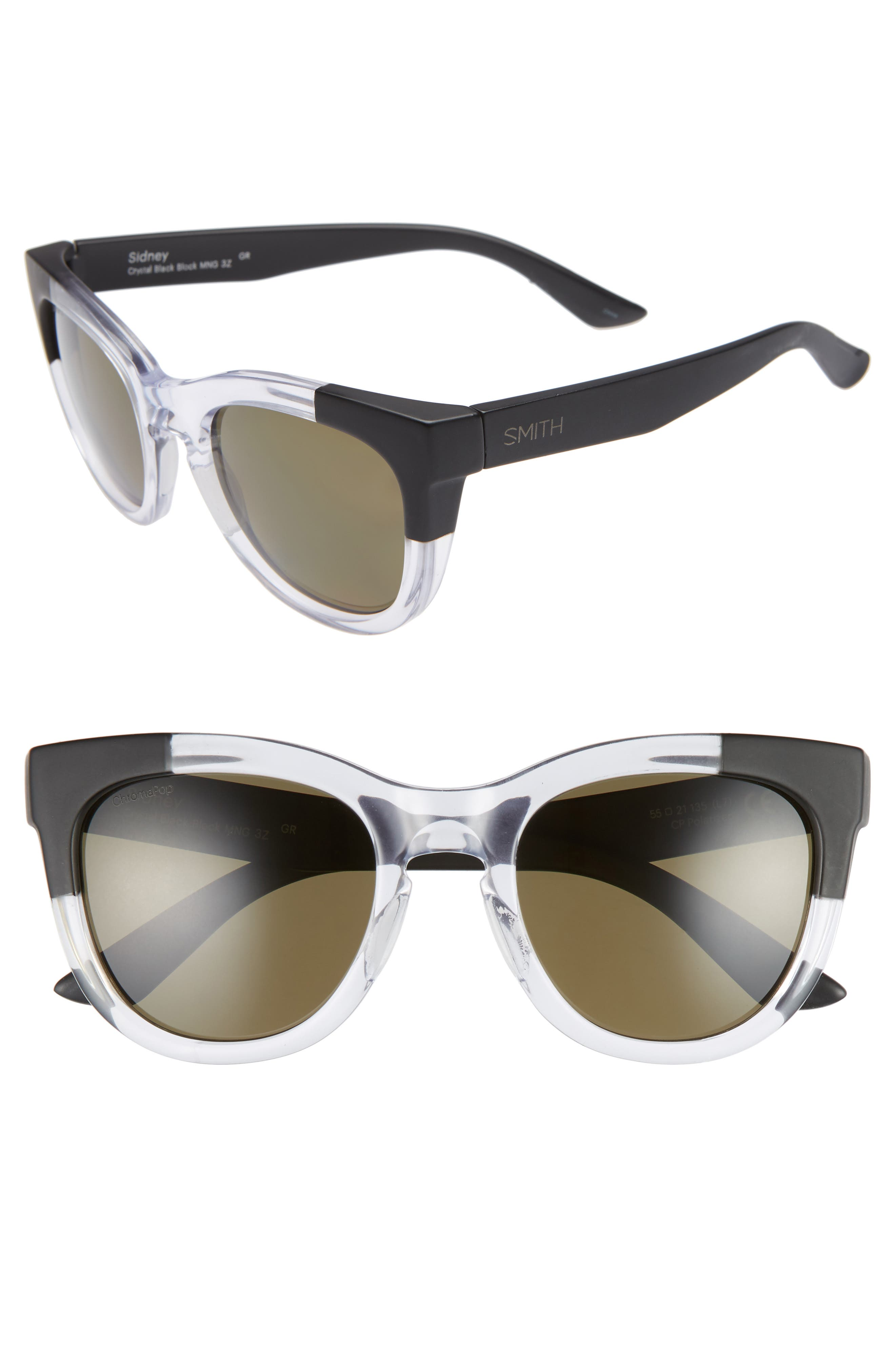 SMITH SIDNEY 55MM CHROMAPOP POLARIZED CAT EYE SUNGLASSES - CRYSTAL/ BLACK BLOCK