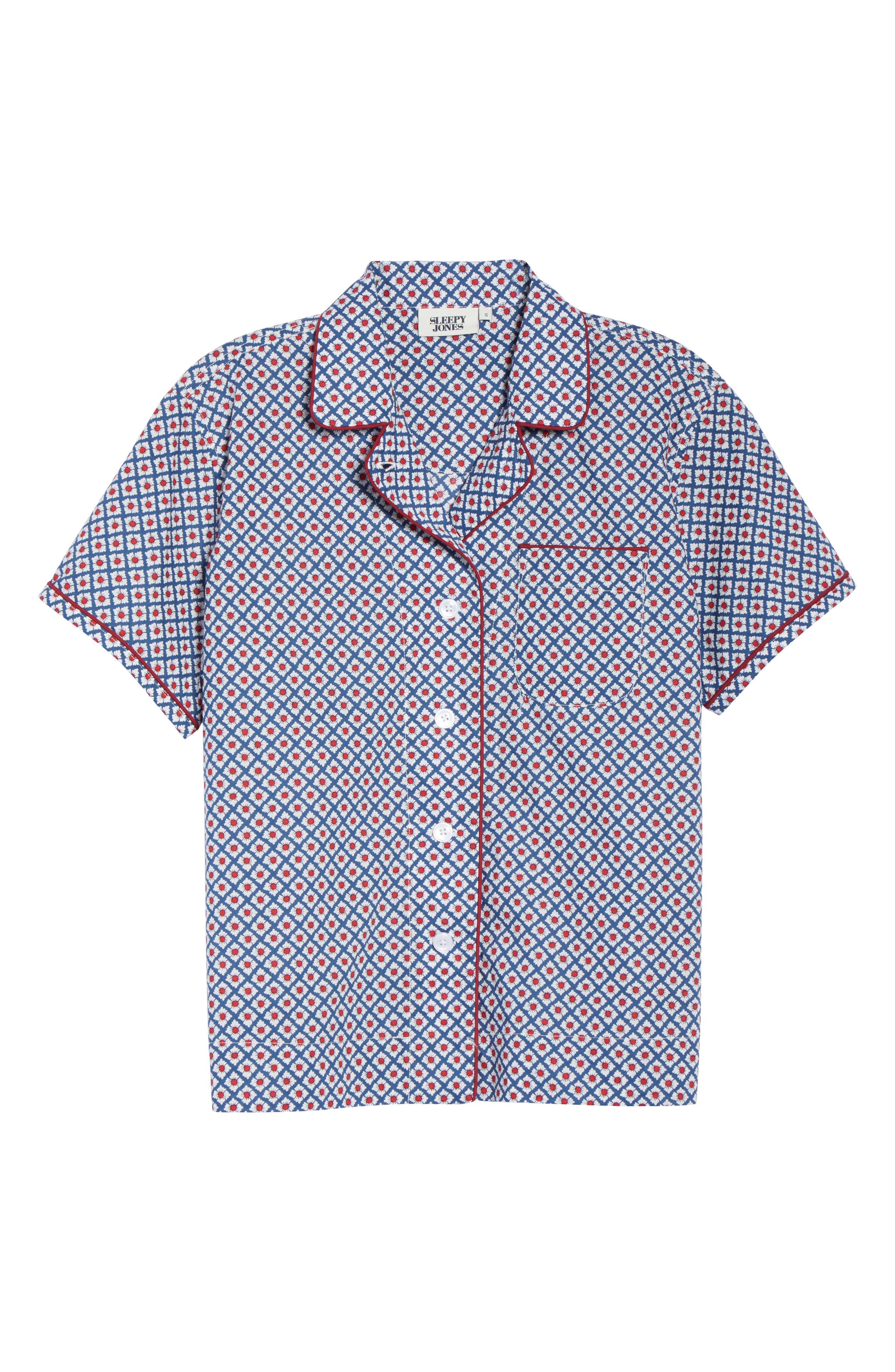 SLEEPY JONES Pajama Shirt in Navy
