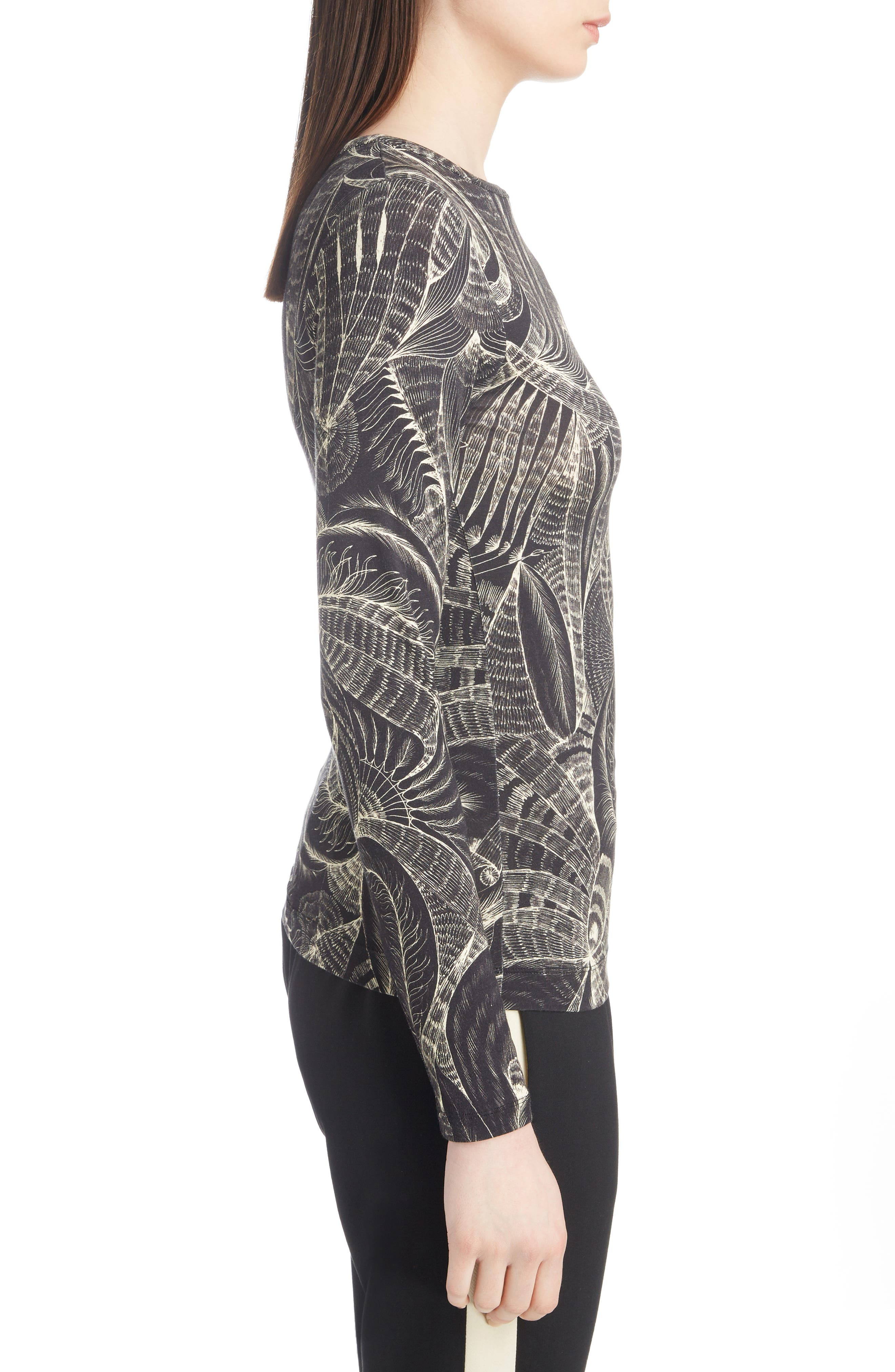 Tattoo Print Fitted Knit Top,                             Alternate thumbnail 3, color,                             Black