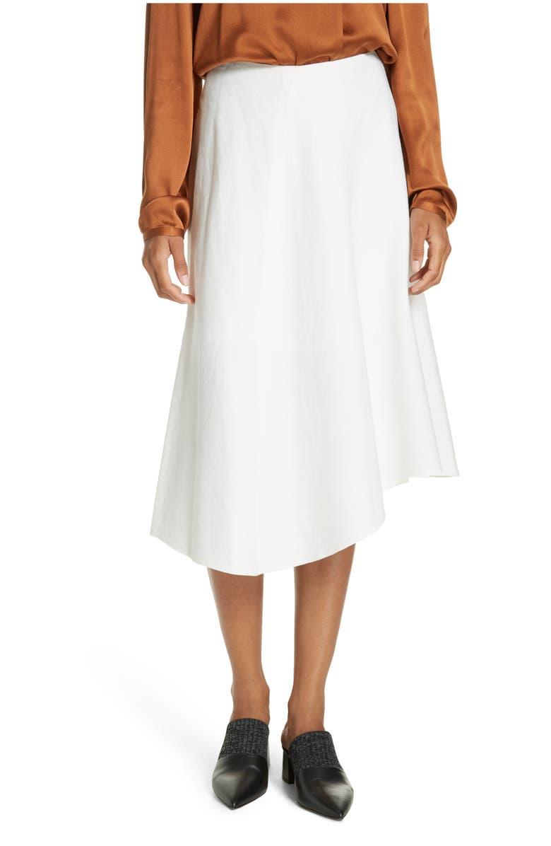 Asymmetric Hem Linen & Cotton Skirt