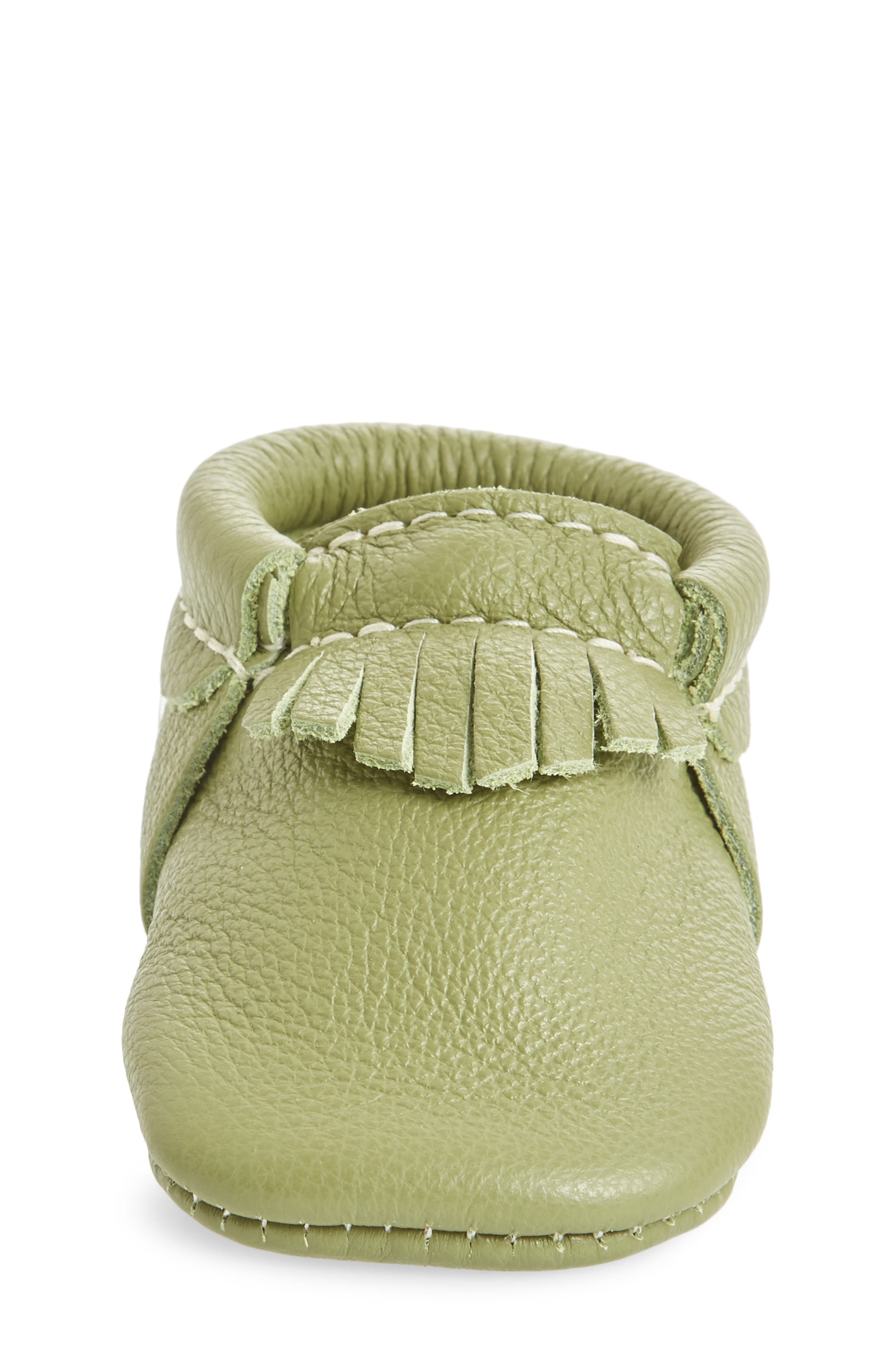Leather Moccasin,                             Alternate thumbnail 6, color,                             Green Leather