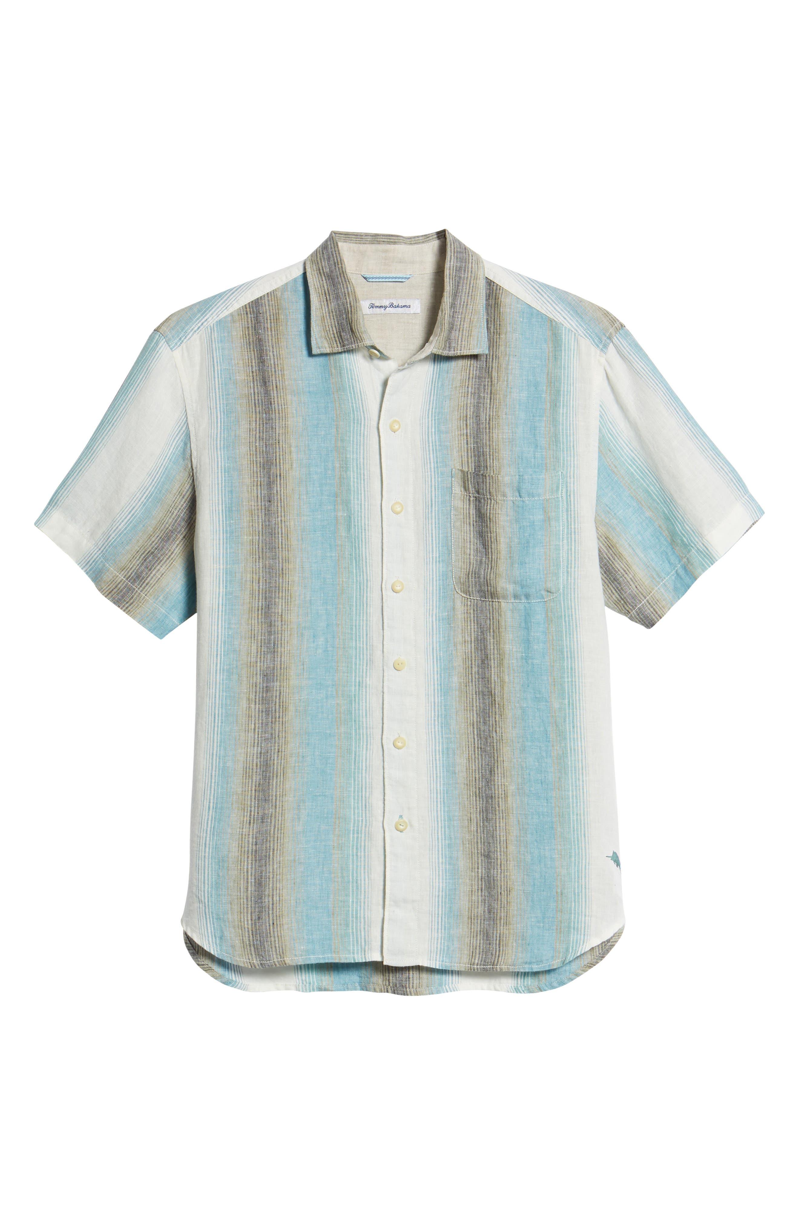 Sanchez Stripe Linen Sport Shirt,                             Alternate thumbnail 6, color,                             Voyager Blue