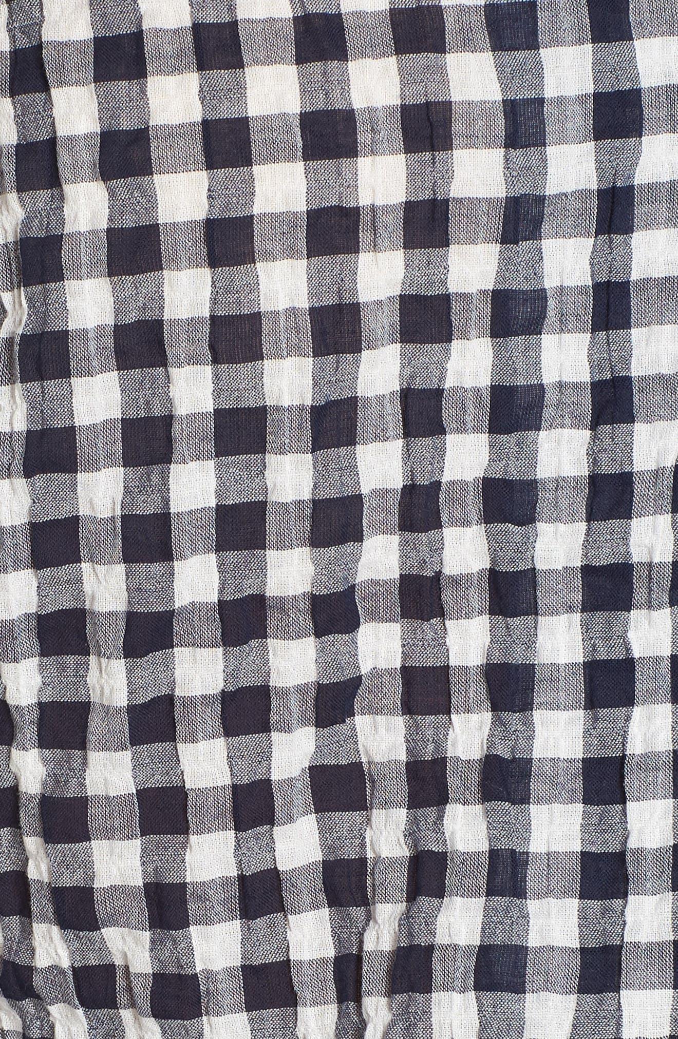 Gingham Pajama Set,                             Alternate thumbnail 5, color,                             Ivory/ Navy