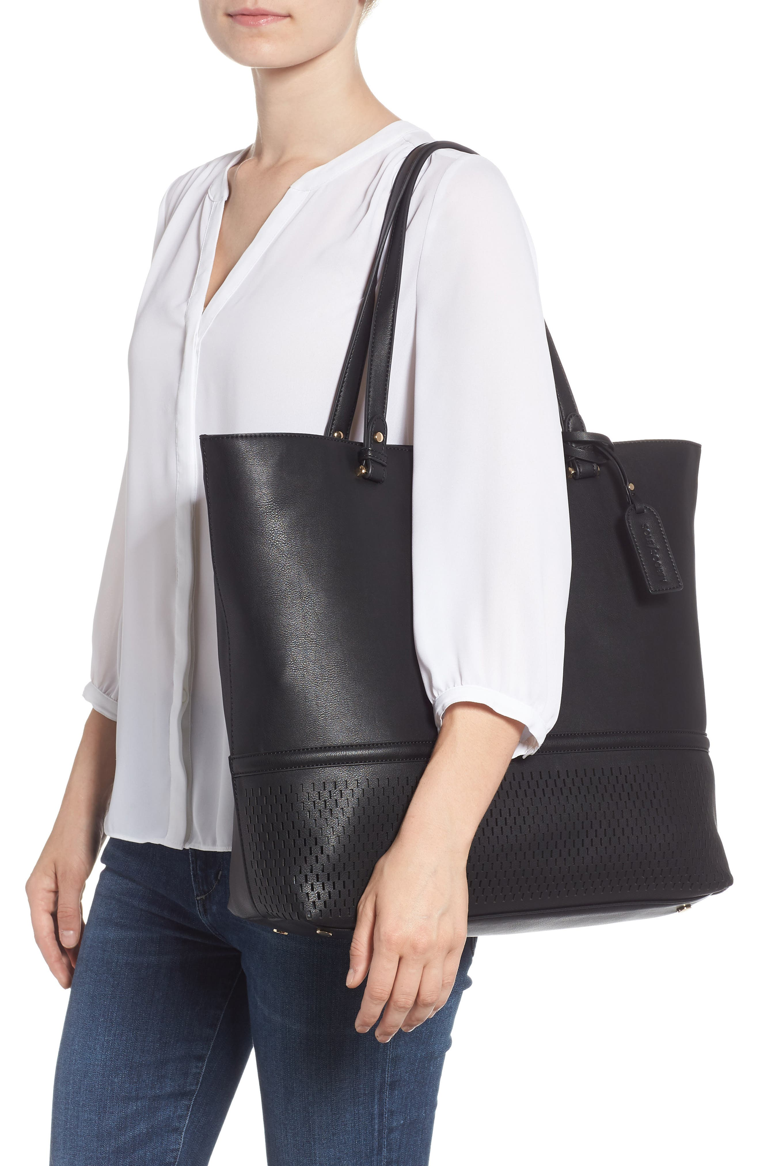 Oversize Faux Leather Tote,                             Alternate thumbnail 2, color,                             Black