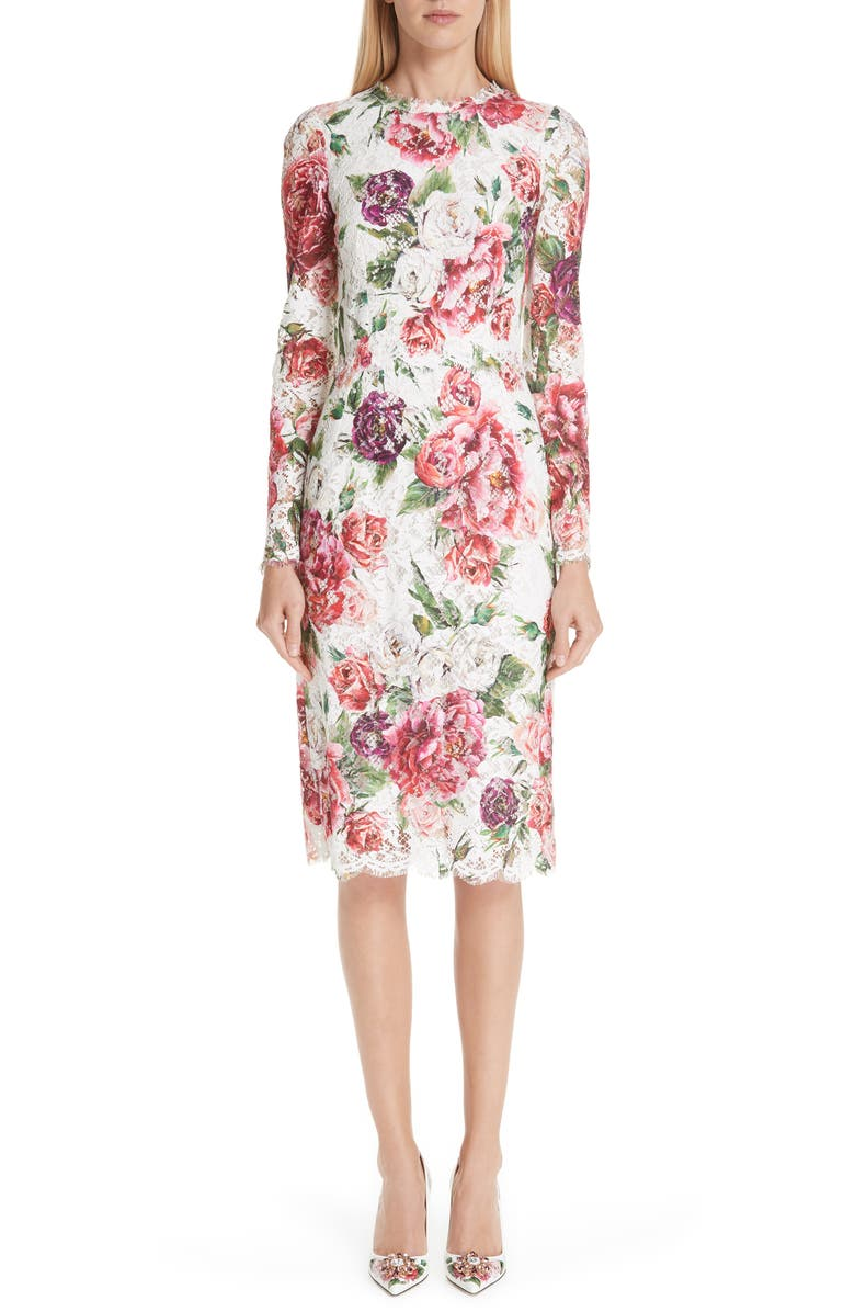 Peony Print Lace Dress