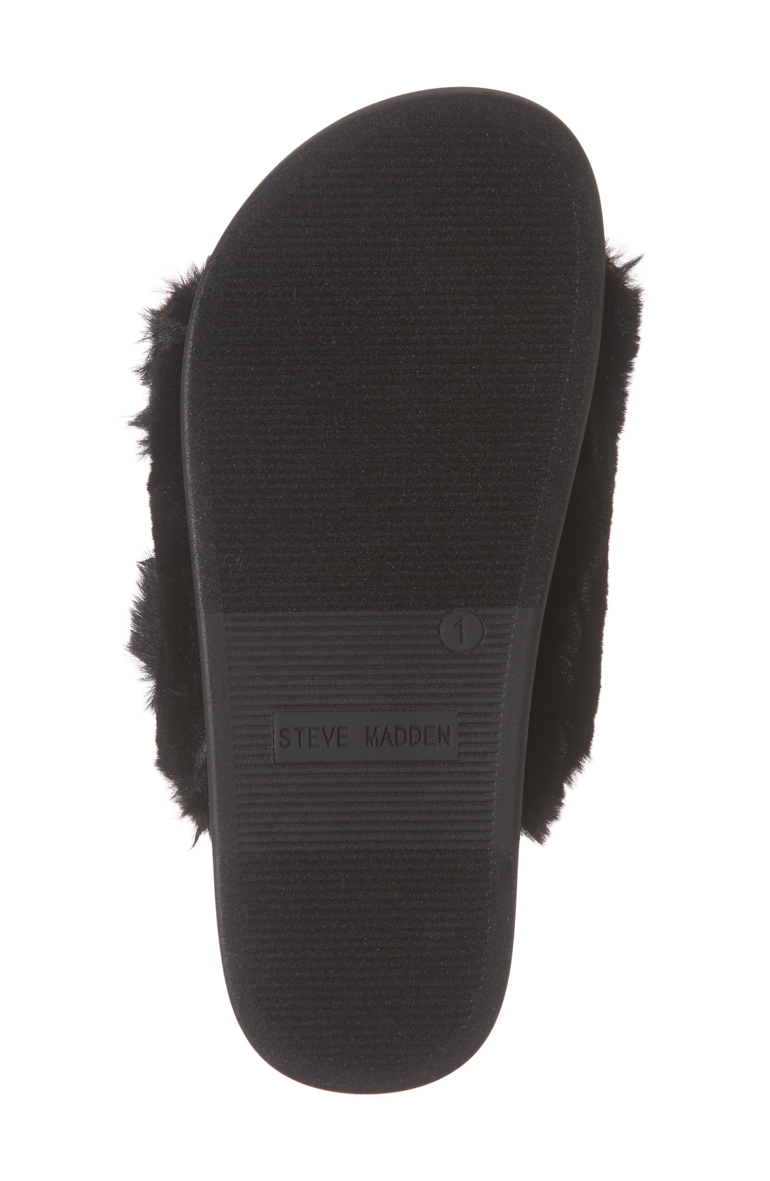 Faux Fur Slide Sandal,                             Alternate thumbnail 5, color,                             Black