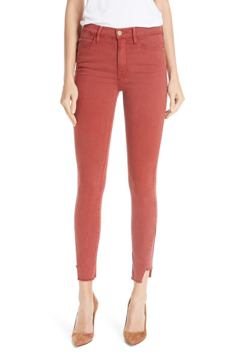 Le High Side Step Hem Skinny Jeans