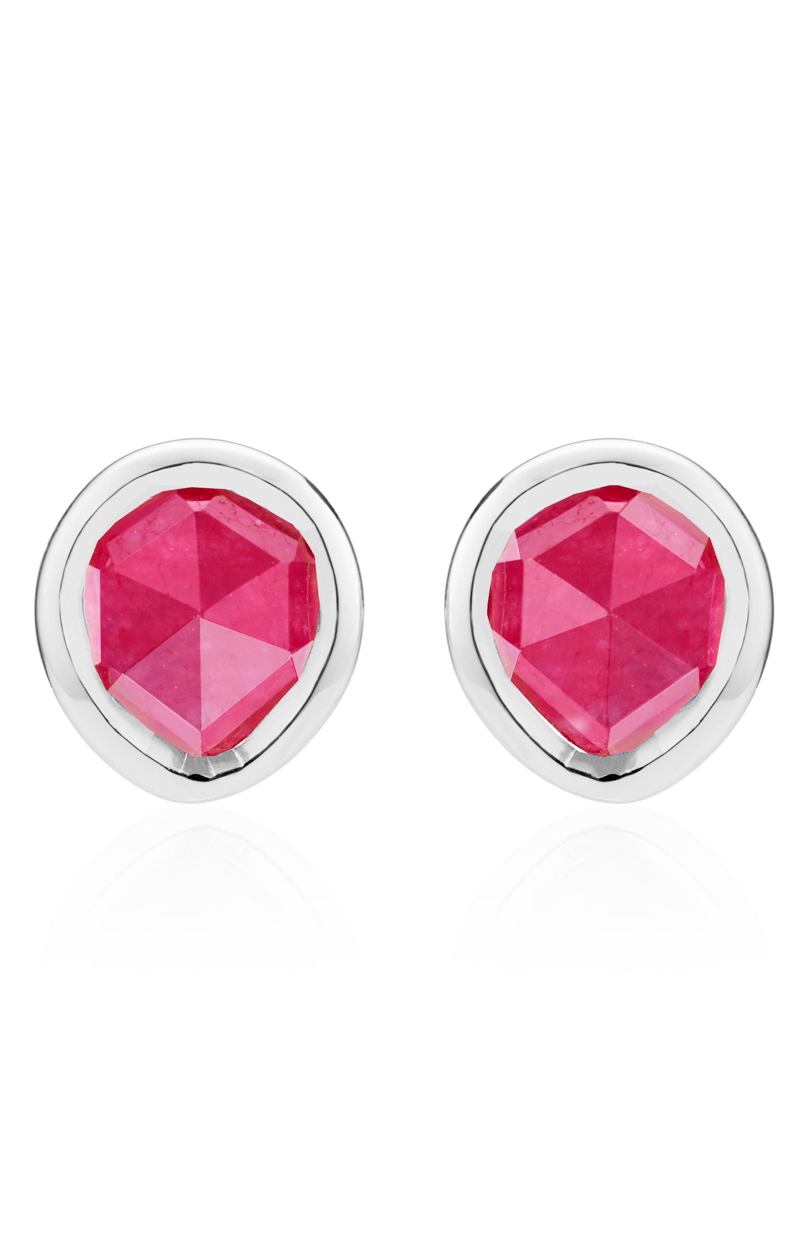 Siren Mini Stud Earrings,                             Main thumbnail 1, color,                             Silver/ Pink Quartz