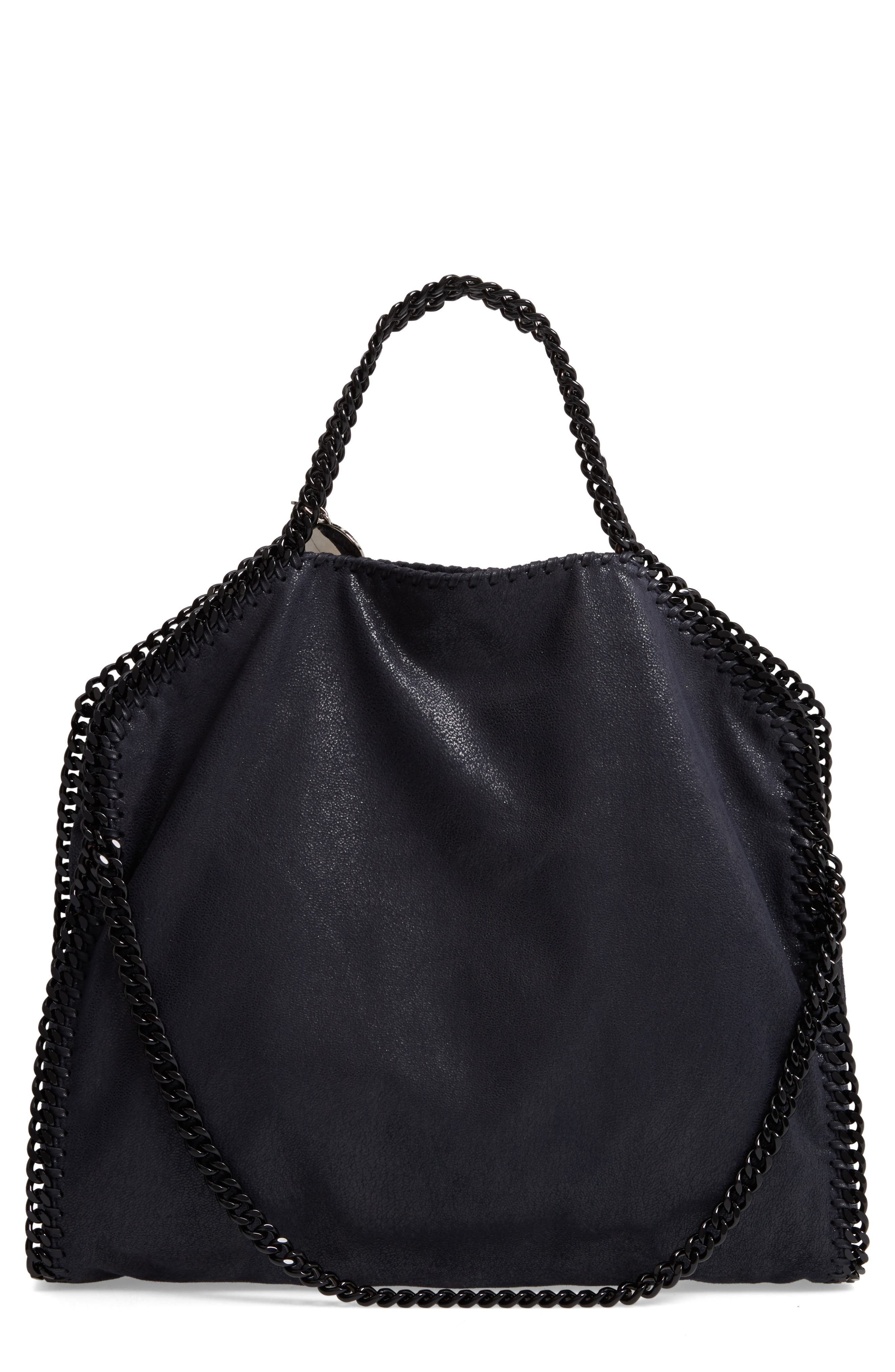 Falabella Shaggy Deer Faux Leather Tote,                             Main thumbnail 1, color,                             Navy