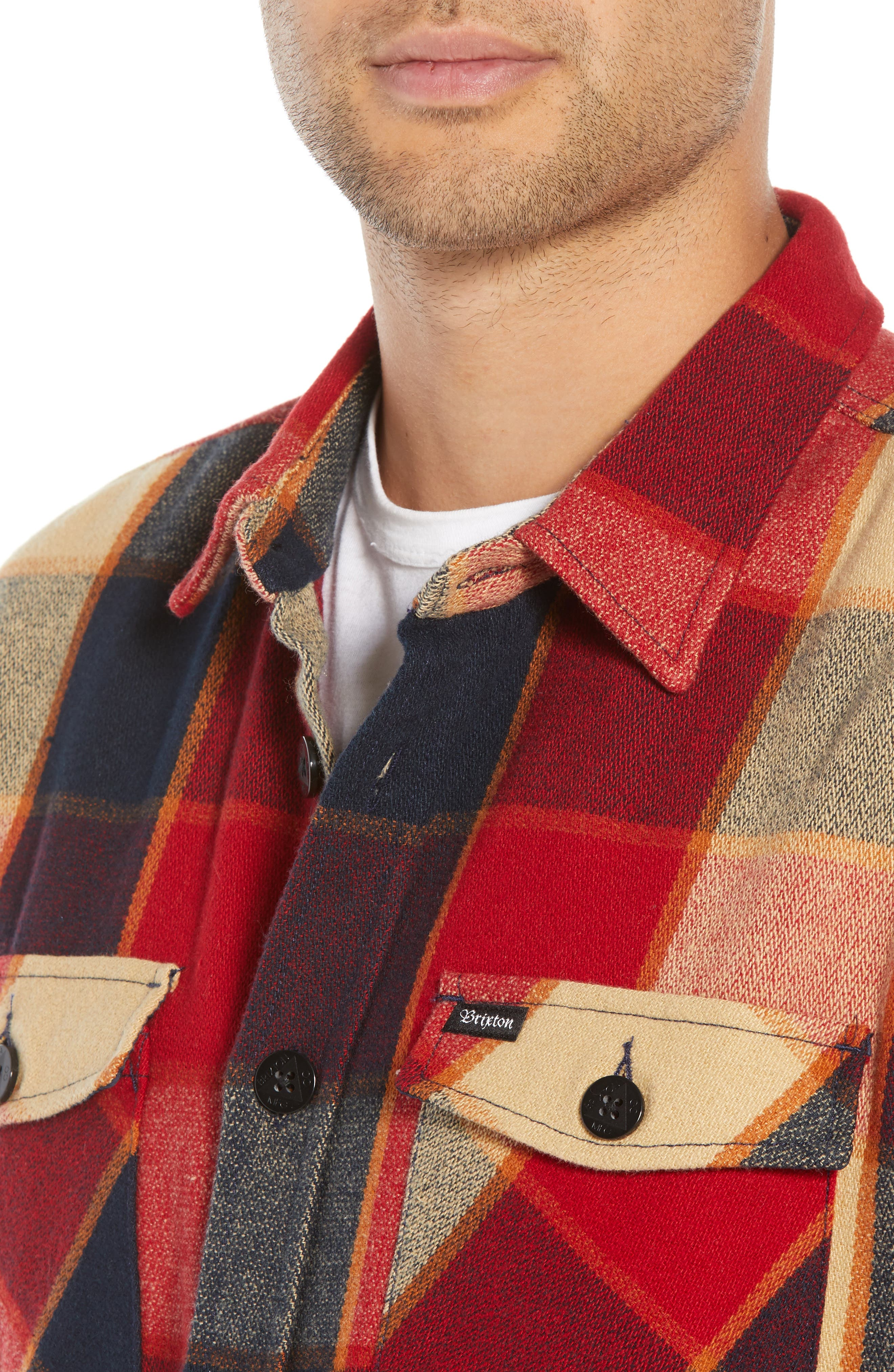 Durham Flannel Shirt,                             Alternate thumbnail 2, color,                             Red/ Navy