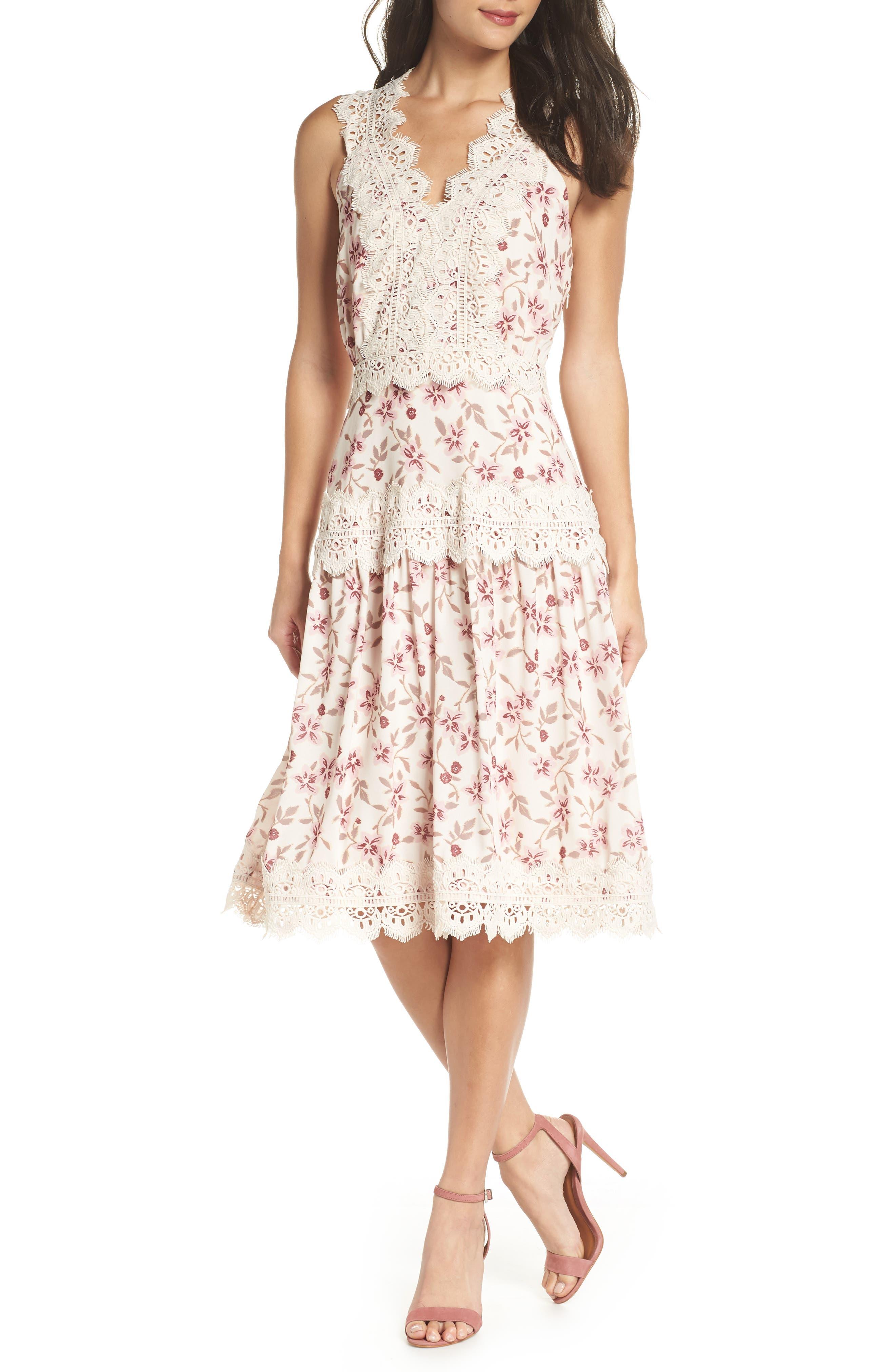 ADELYN RAE Payton Lace Trim A-Line Dress, Cream-Lilac