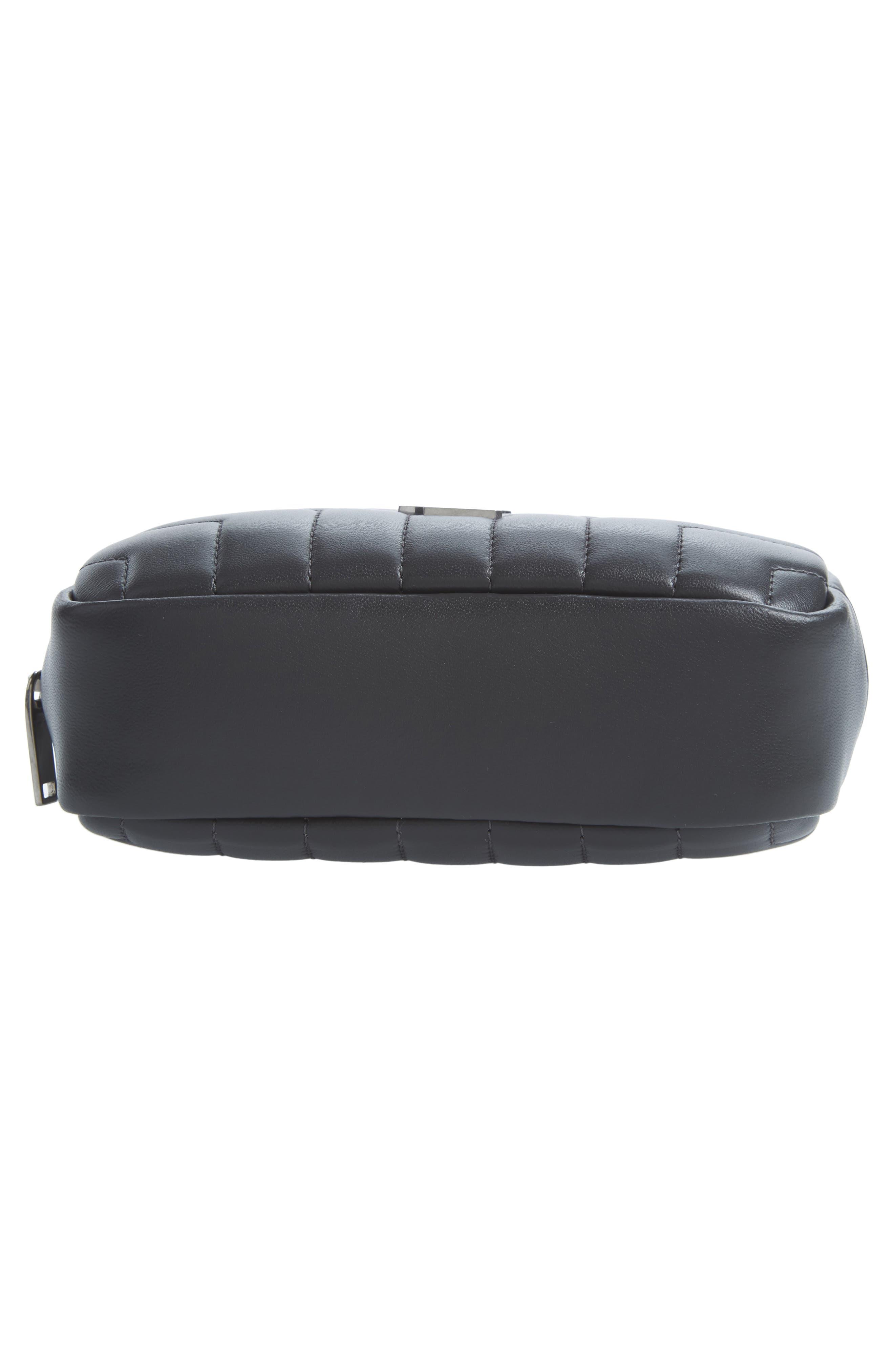 Loulou Matelassé Leather Cosmetics Bag,                             Alternate thumbnail 4, color,                             Storm
